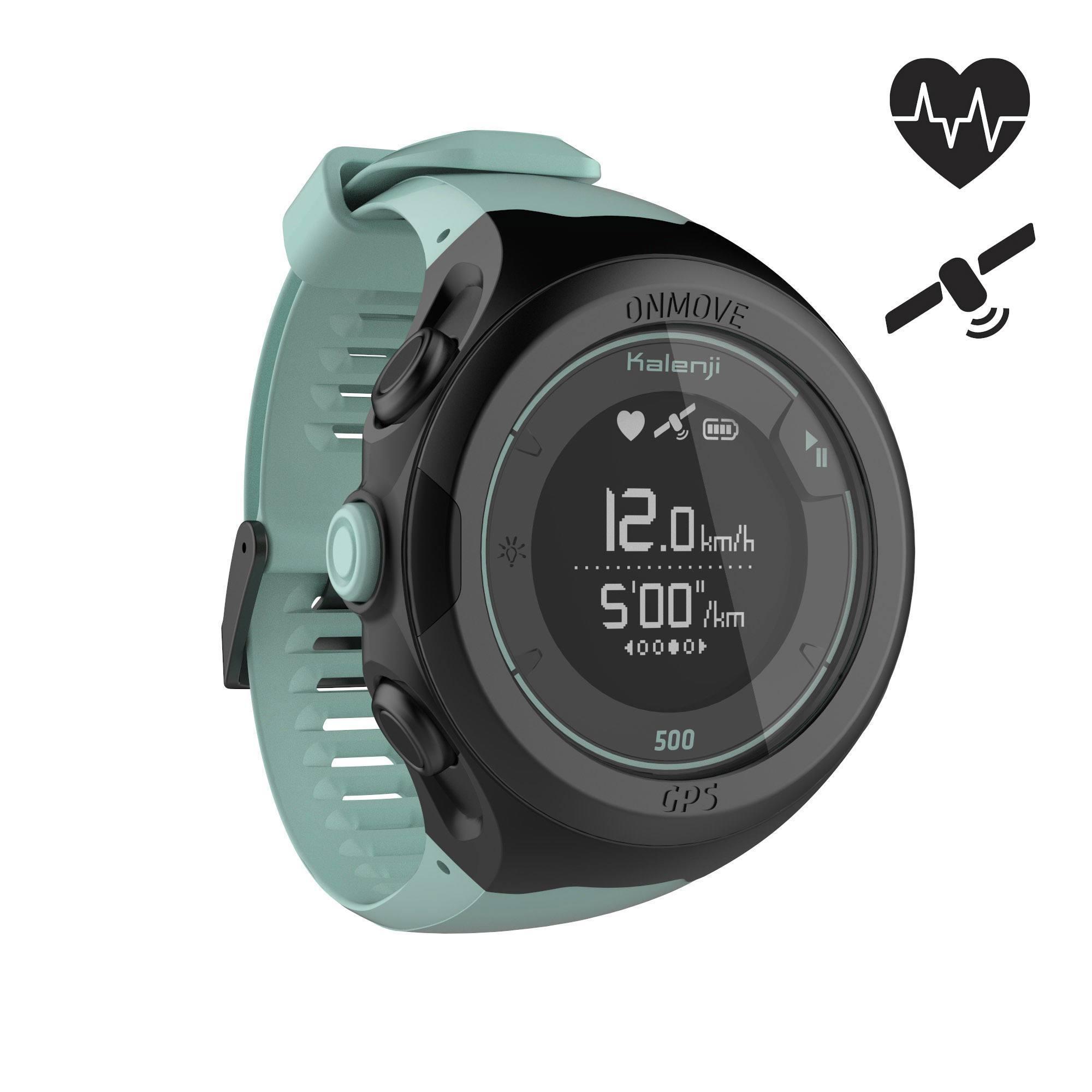 Montre de running GPS et cardio au poignet ONmove 500 vert d'eau