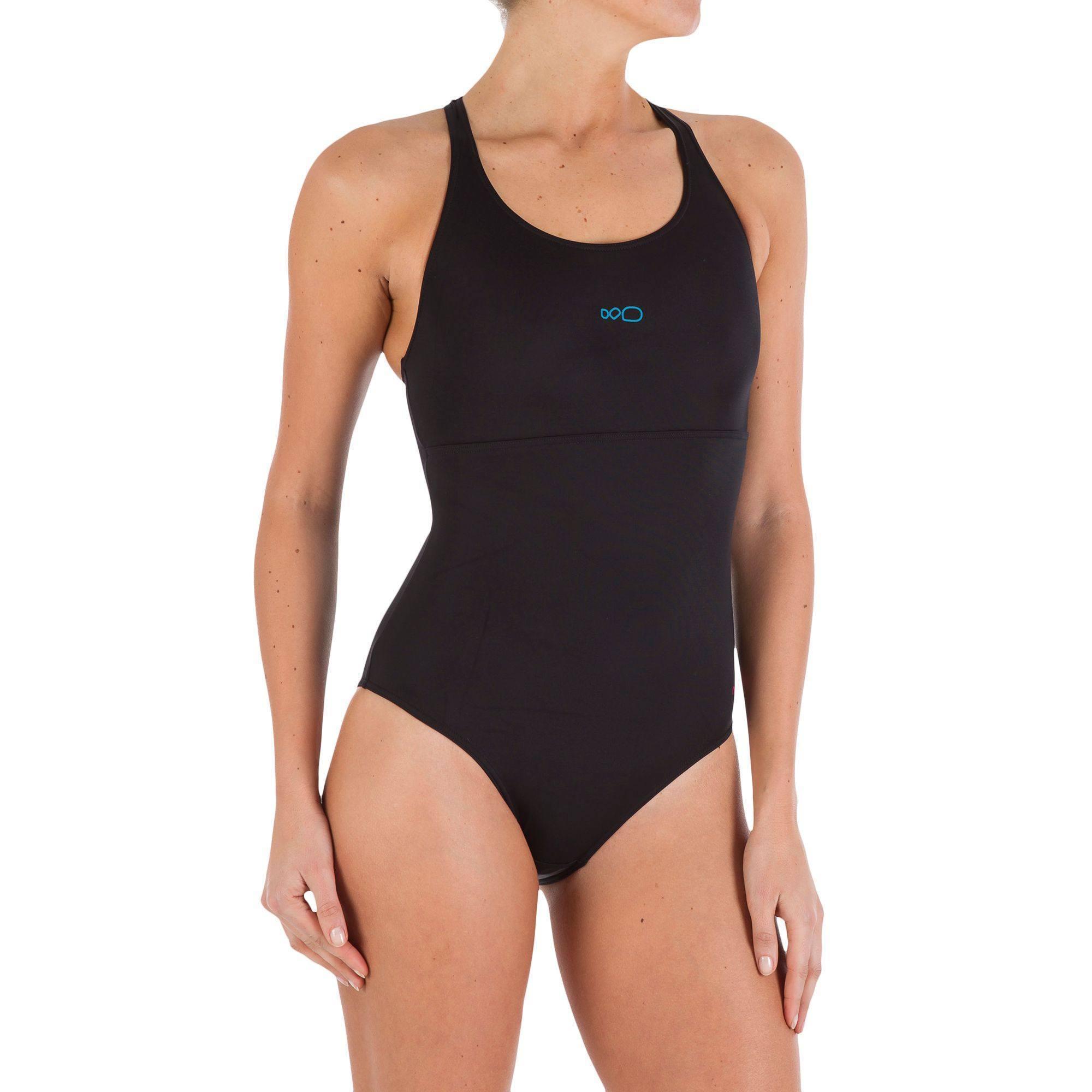 Maillot de bain de natation une pièce femme Leony + noir