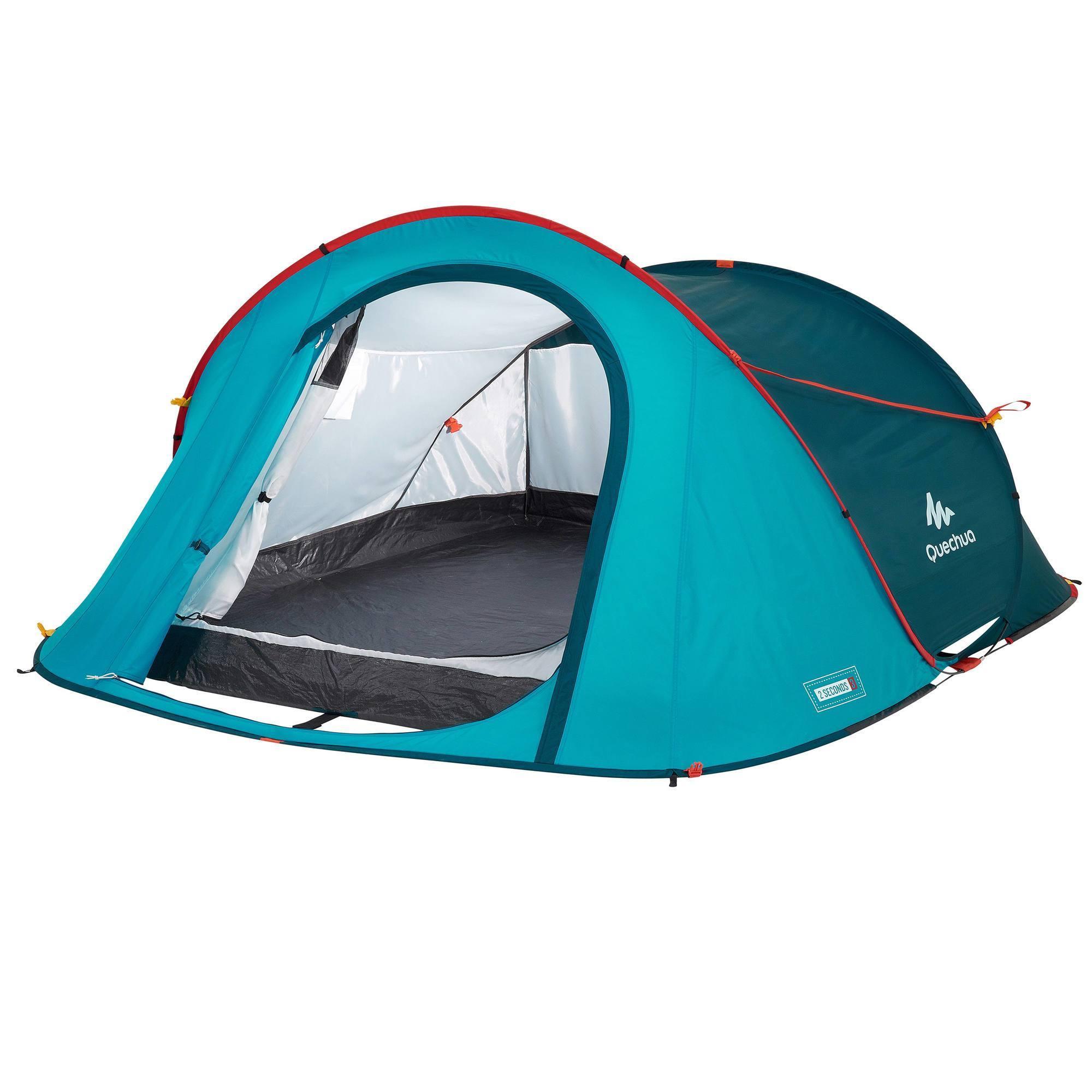 Tente de camping 2 SECONDS   3 personnes bleue