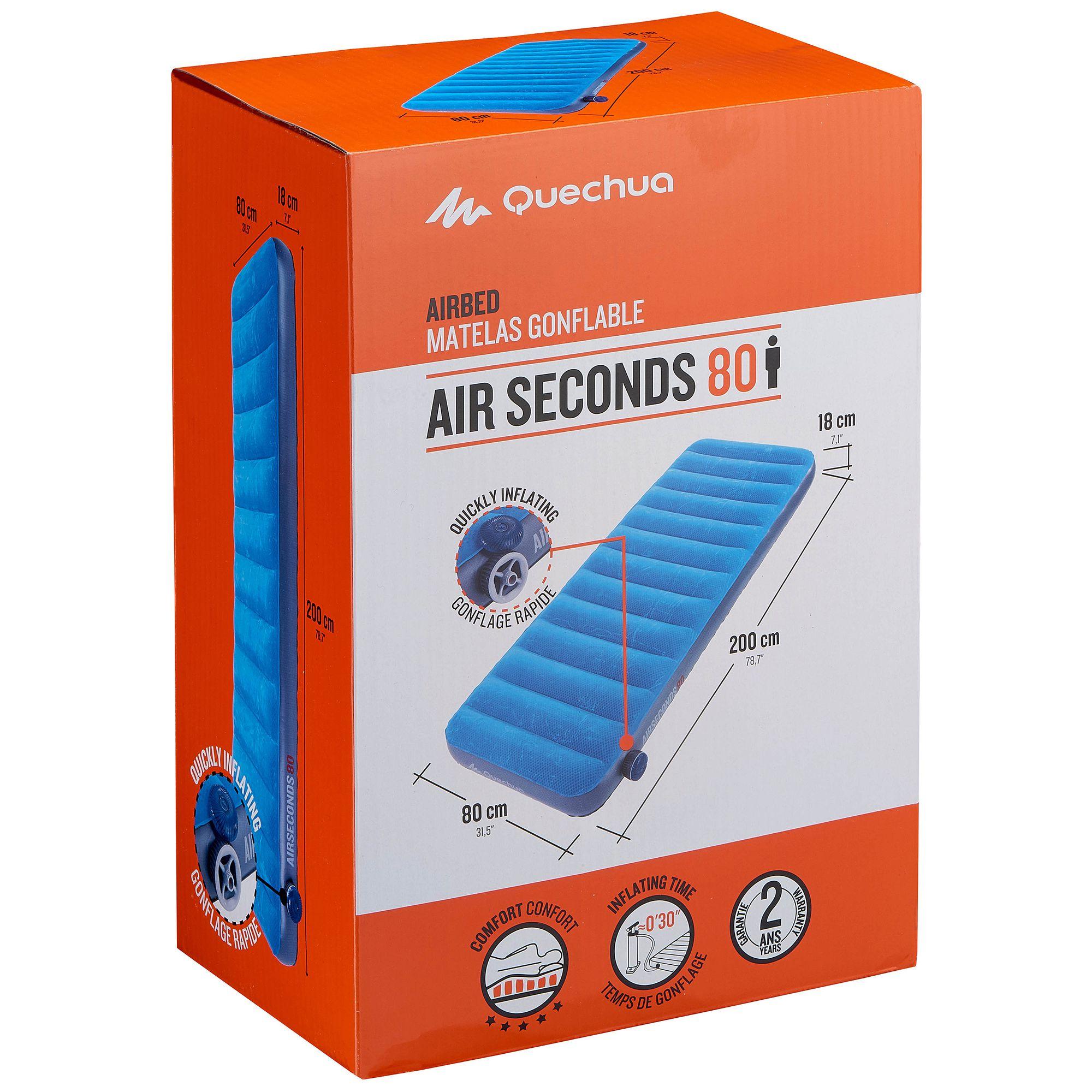 matelas gonflable de camping air seconds 80 1 pers. Black Bedroom Furniture Sets. Home Design Ideas