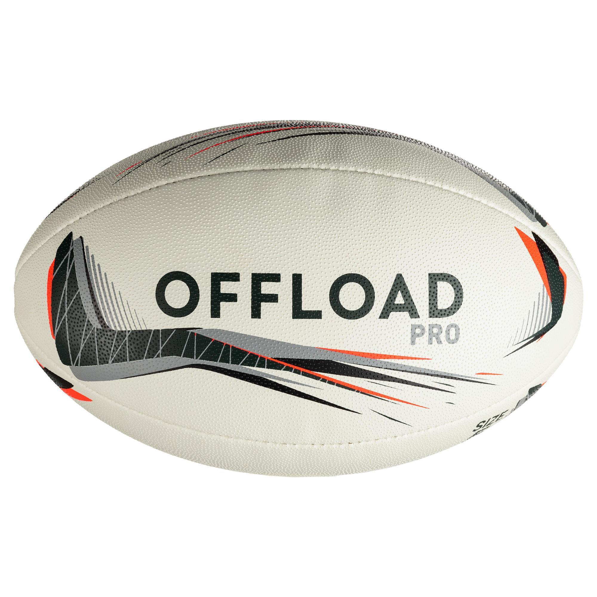 Ballon rugby R900 taille 5 gris rouge