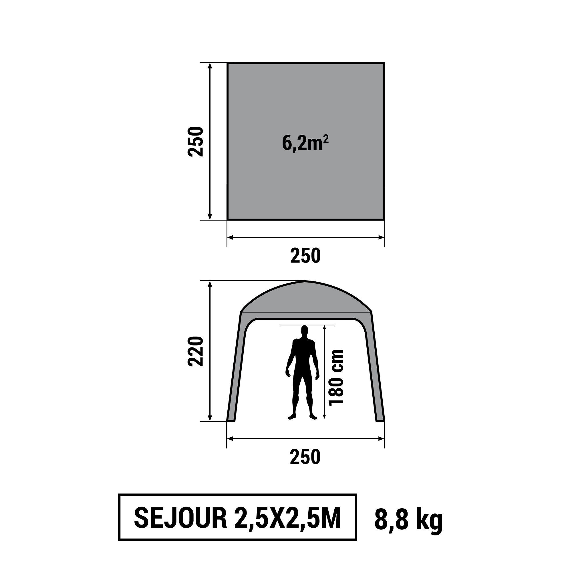 SEJOUR CAMPING / CAMP DU RANDONNEUR 2,5mx 2,5m 6 PERSONNES GRIS GRANIT