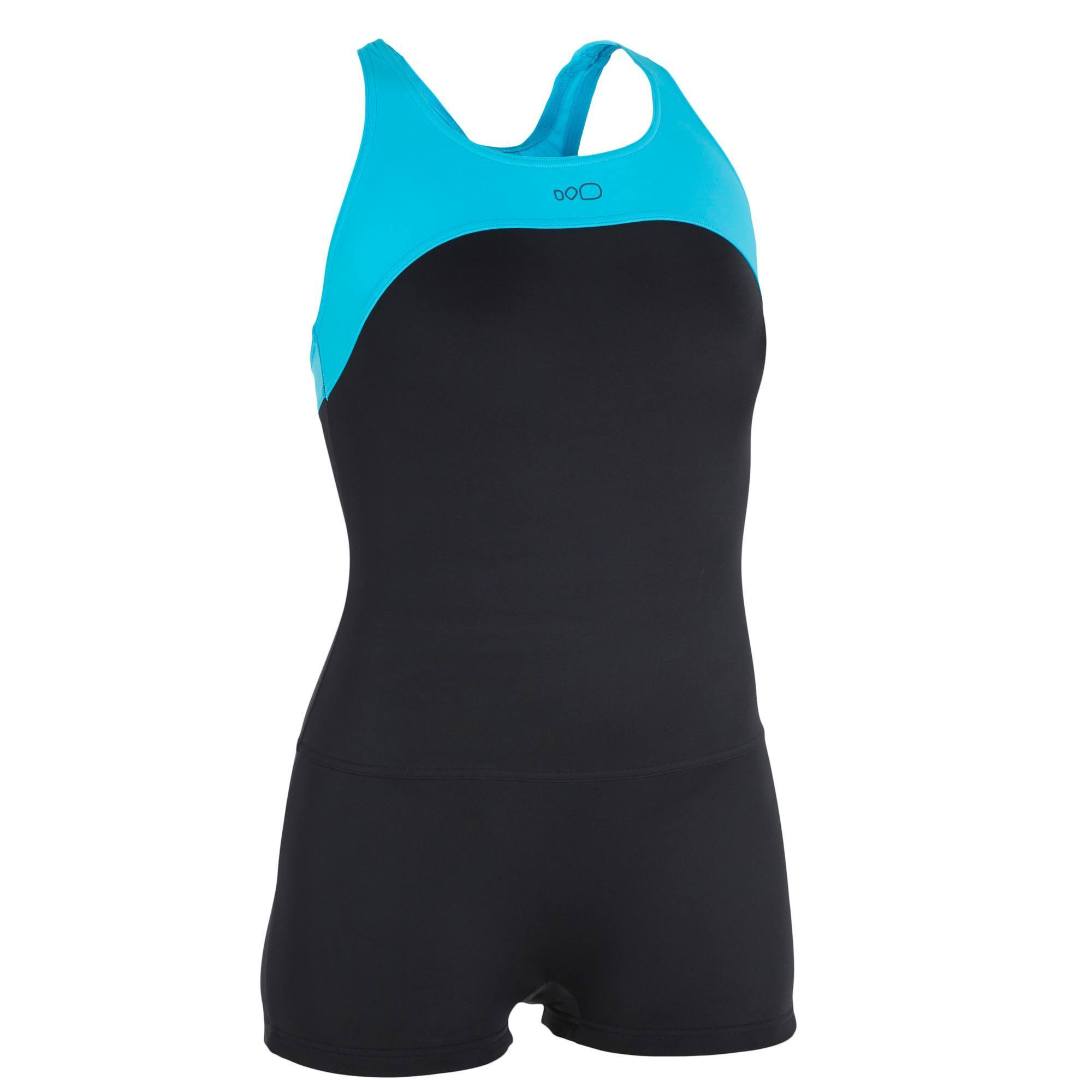 maillot de bain de natation forme shorty une pi ce femme leony cut noir bleu clubs. Black Bedroom Furniture Sets. Home Design Ideas