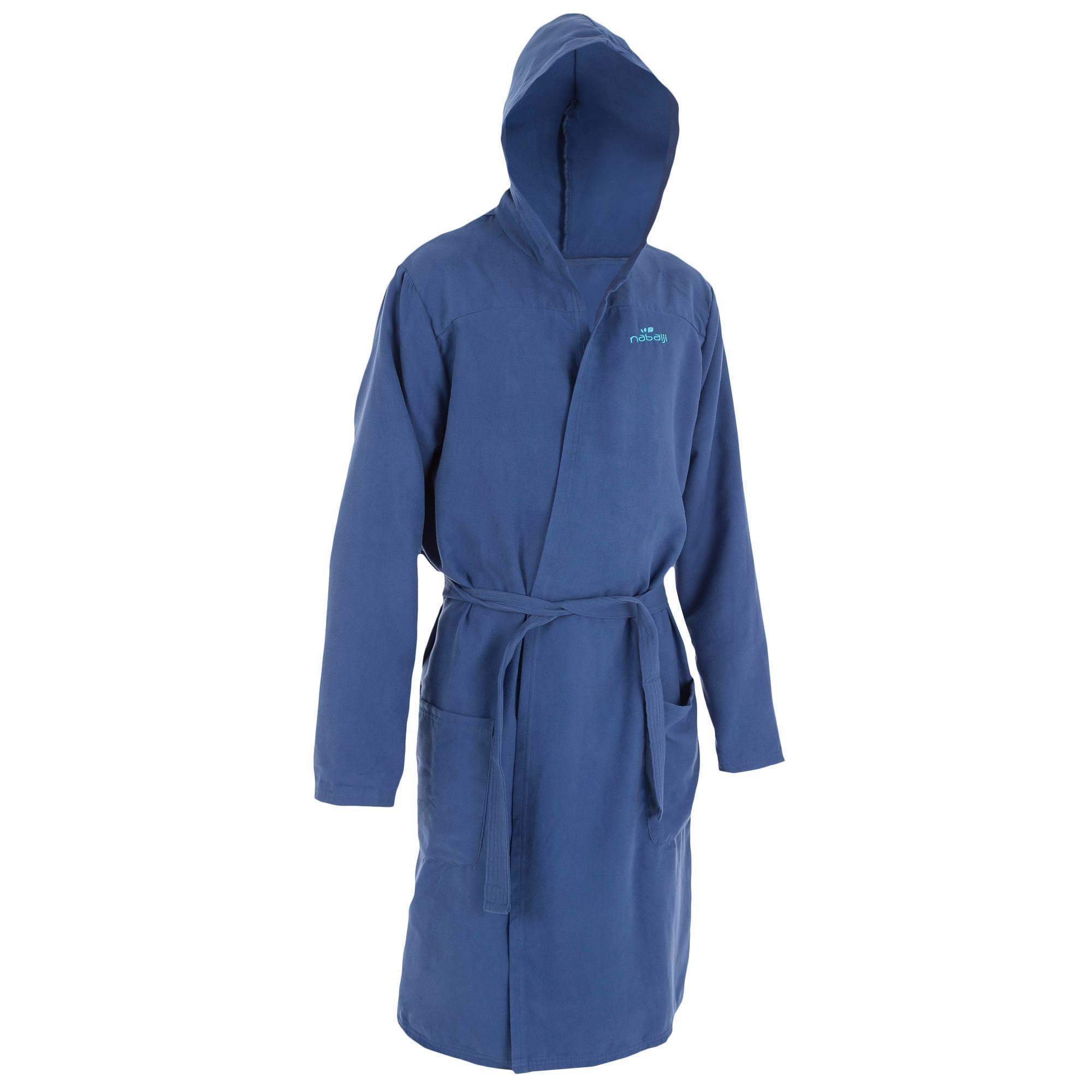 Peignoir microfibre natation homme bleu foncé avec capuche, poches et ceinture