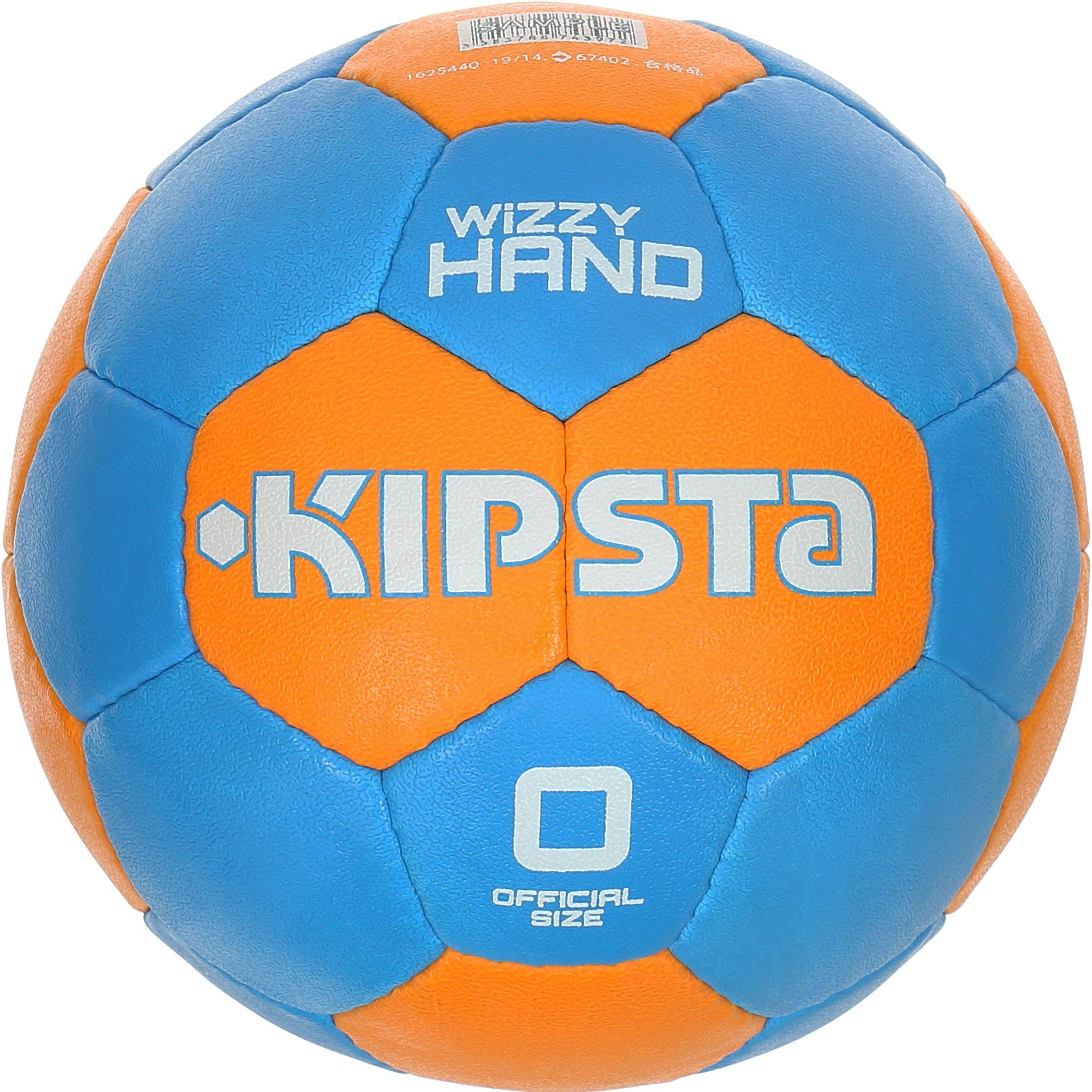 Ballon handball enfant Wizzy Hand taille 0 bleu clair orange