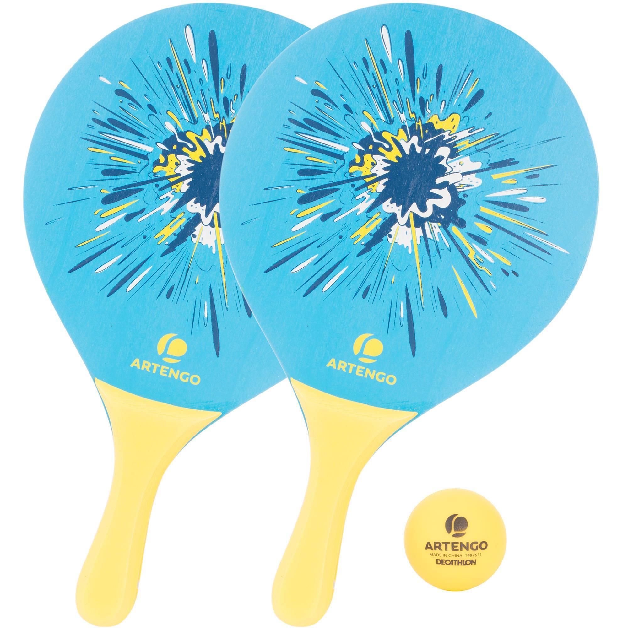 Set raquettes Beach Tennis woody rackets Bleu