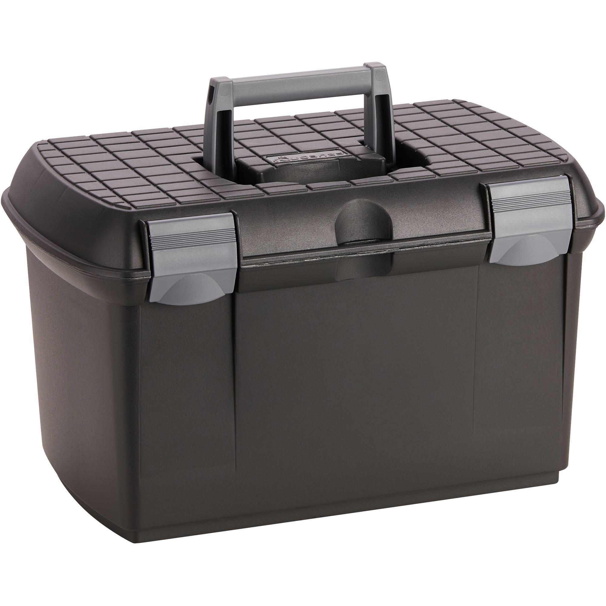Mallette de pansage équitation 500 noir et gris