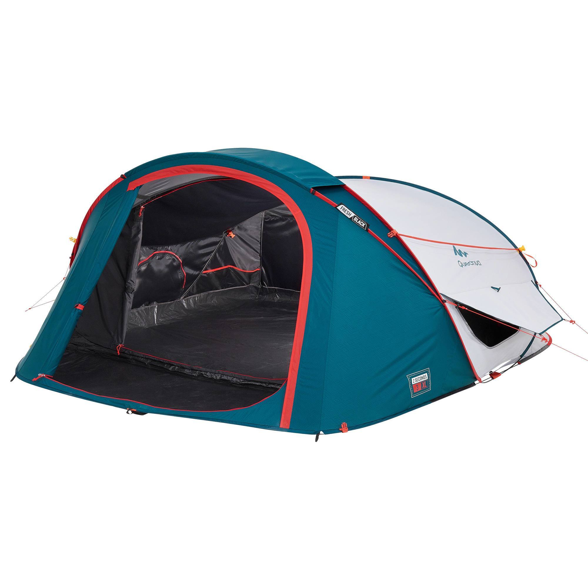 tente de camping 2 seconds 3 xl fresh black 3 personnes blanche clubs collectivit s. Black Bedroom Furniture Sets. Home Design Ideas