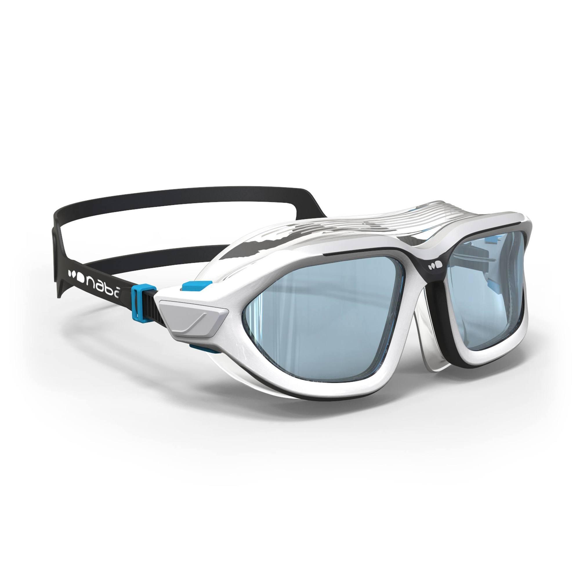 Masque de natation 500 ACTIVE taille L Blanc Gris verres clairs