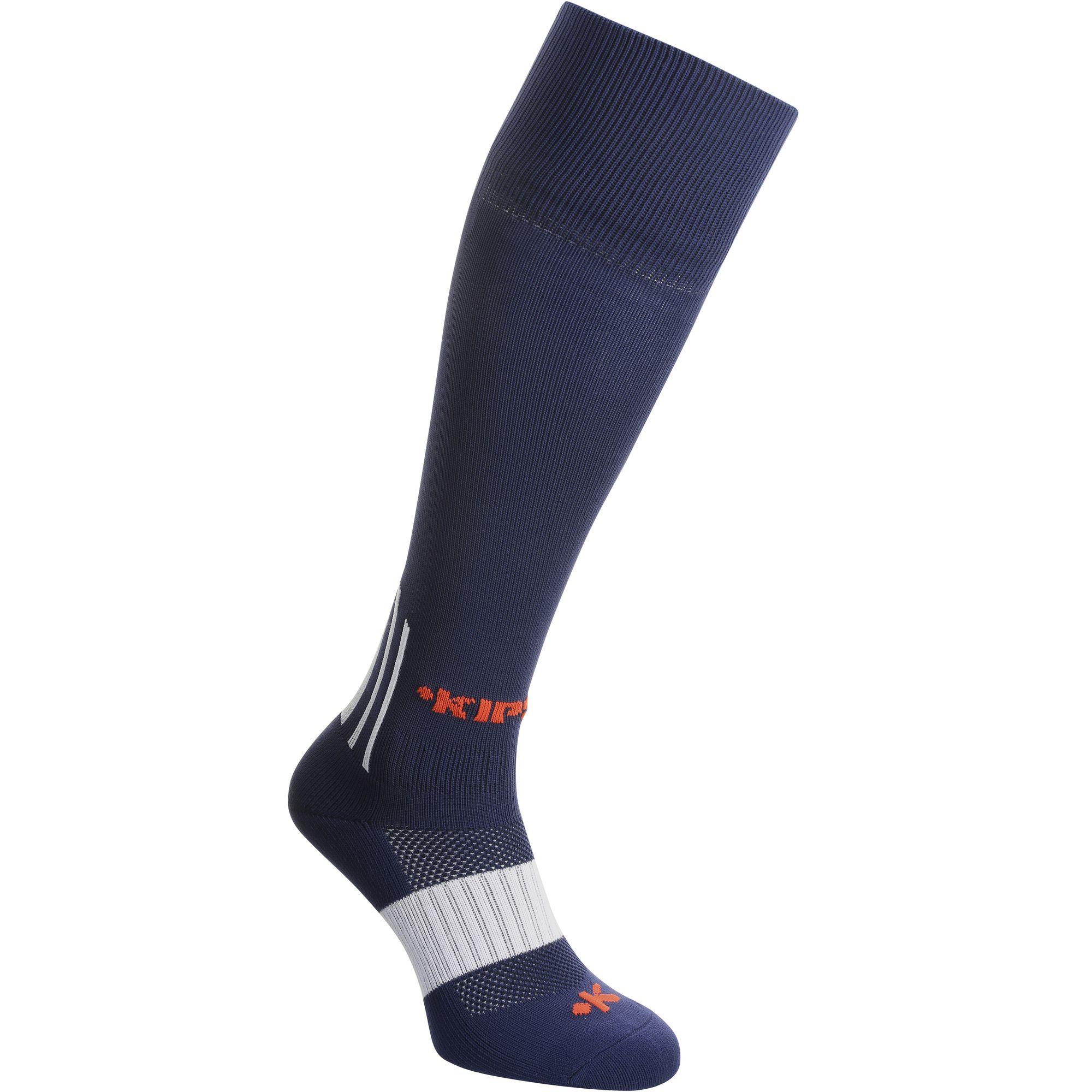 Chaussettes hautes de football adulte F500 bleues marines