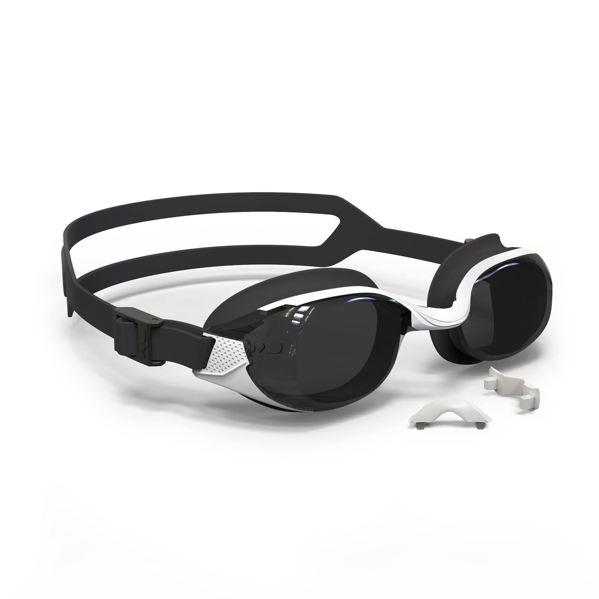 Lunettes de natation 500 B-FIT Blanc Noir verres fumés