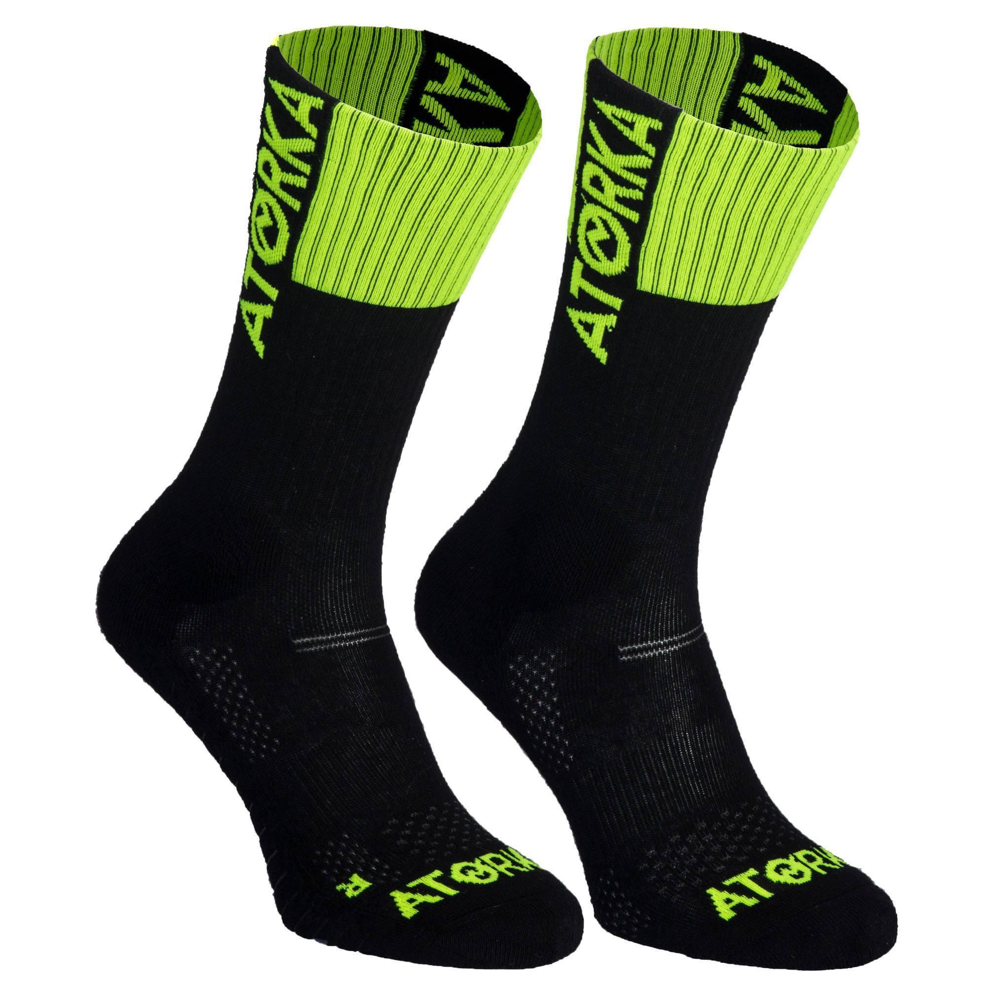 Chaussettes de handball adulte H500 noir / vert