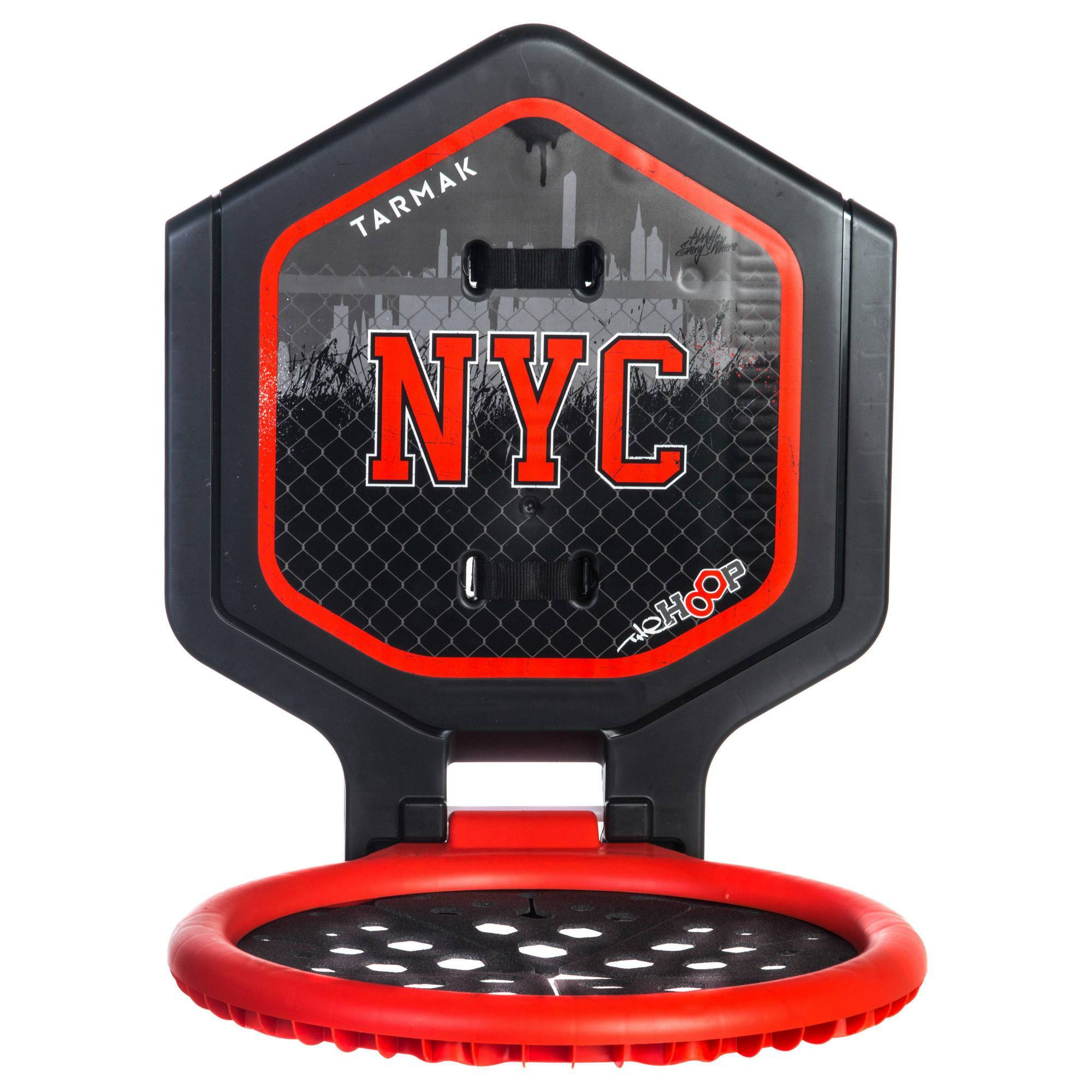 Panier de basket enfant/adulte THE HOOP NYC noir rouge. Transportable.