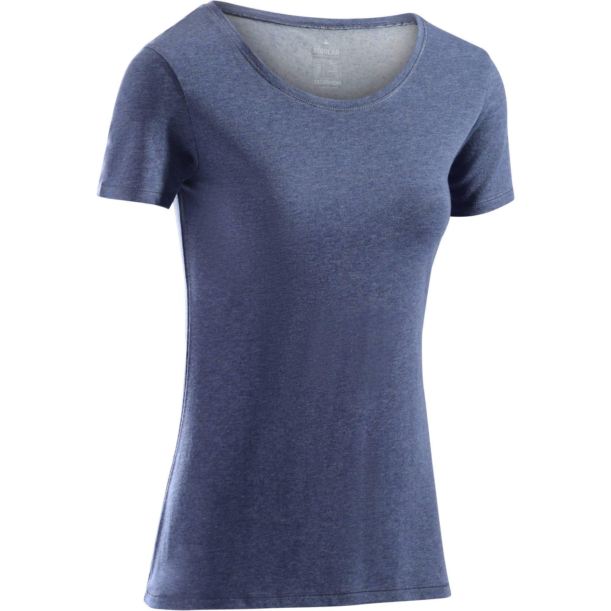T-Shirt 500 régular manches courtes Gym   Pilates femme bleu chiné foncé 41f3b198764