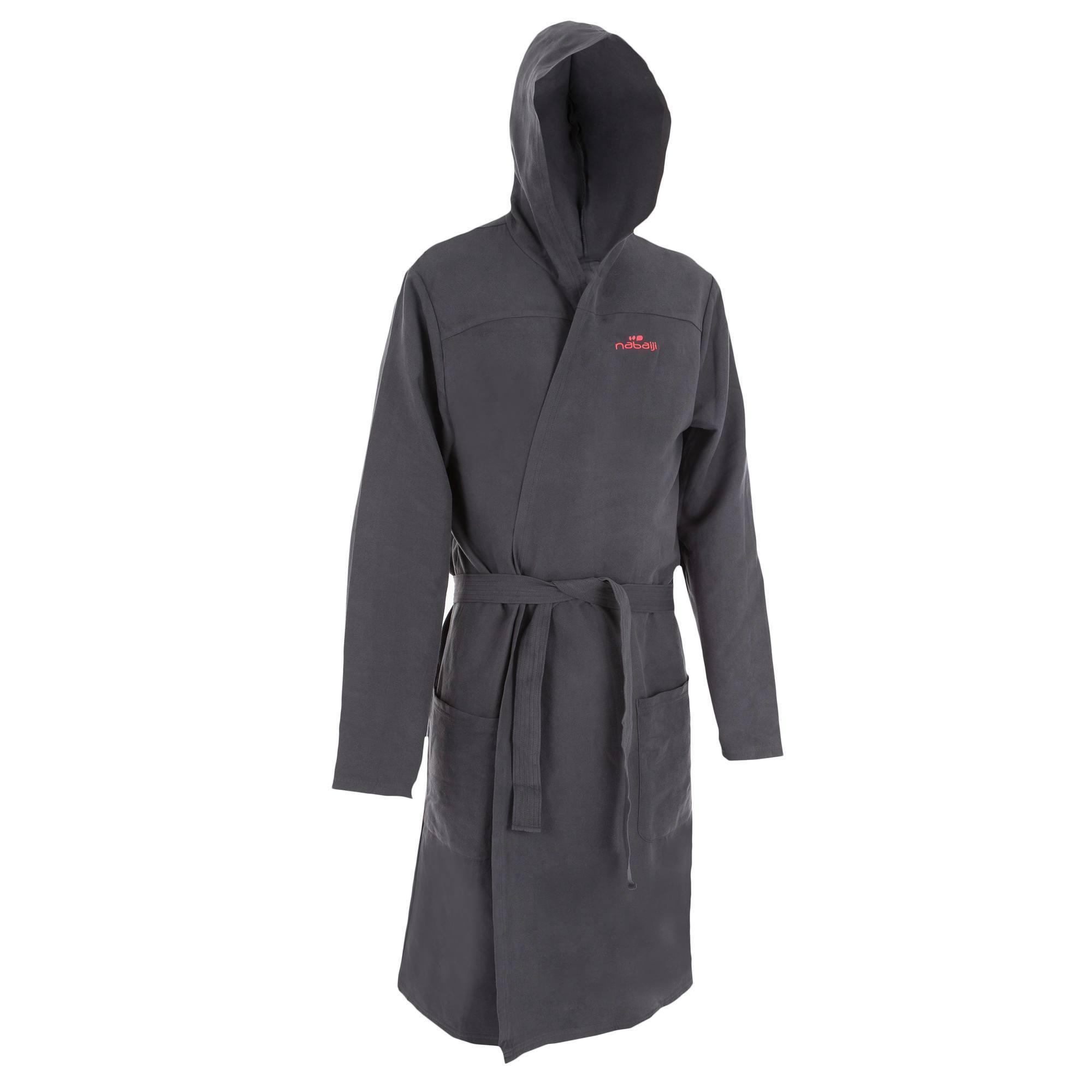 Peignoir microfibre natation homme gris foncé avec capuche, poches et ceinture
