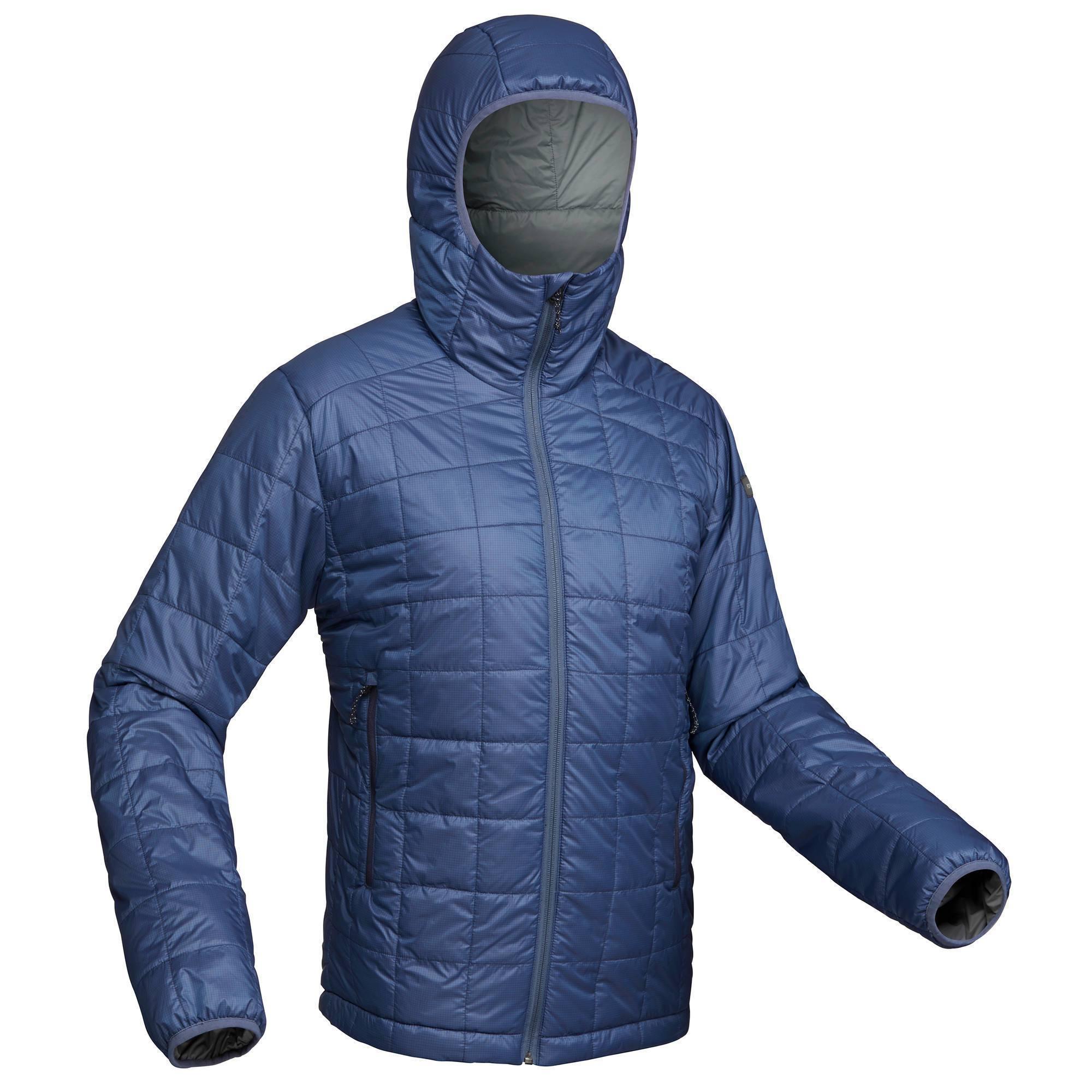 Doudoune trekking montagne TREK100 CAPUCHE homme bleu