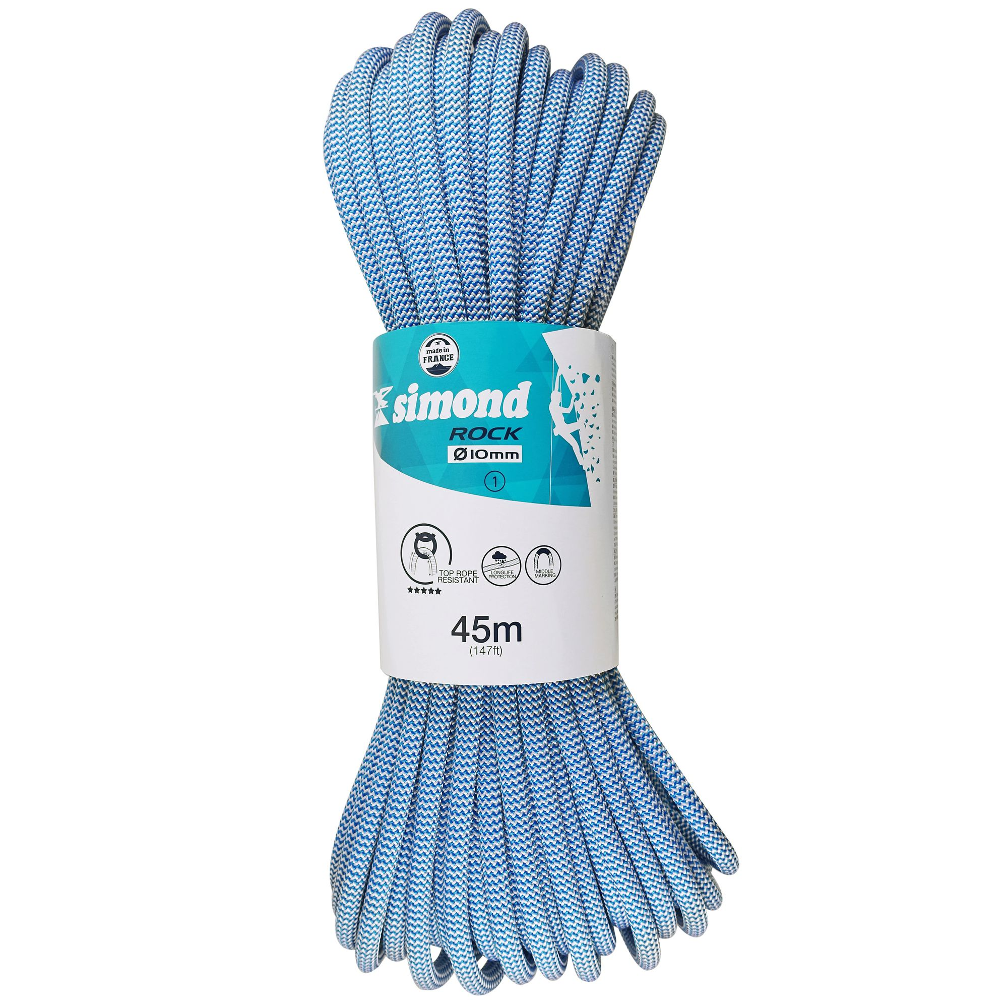 CORDE D'ESCALADE INDOOR ROCK 10MM X 45M BLEU SIMOND