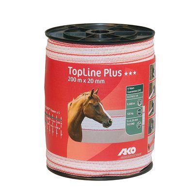 Ruban pour clôture équitation TOP LINE PLUS blanc - largeur 20 mm X 200 m