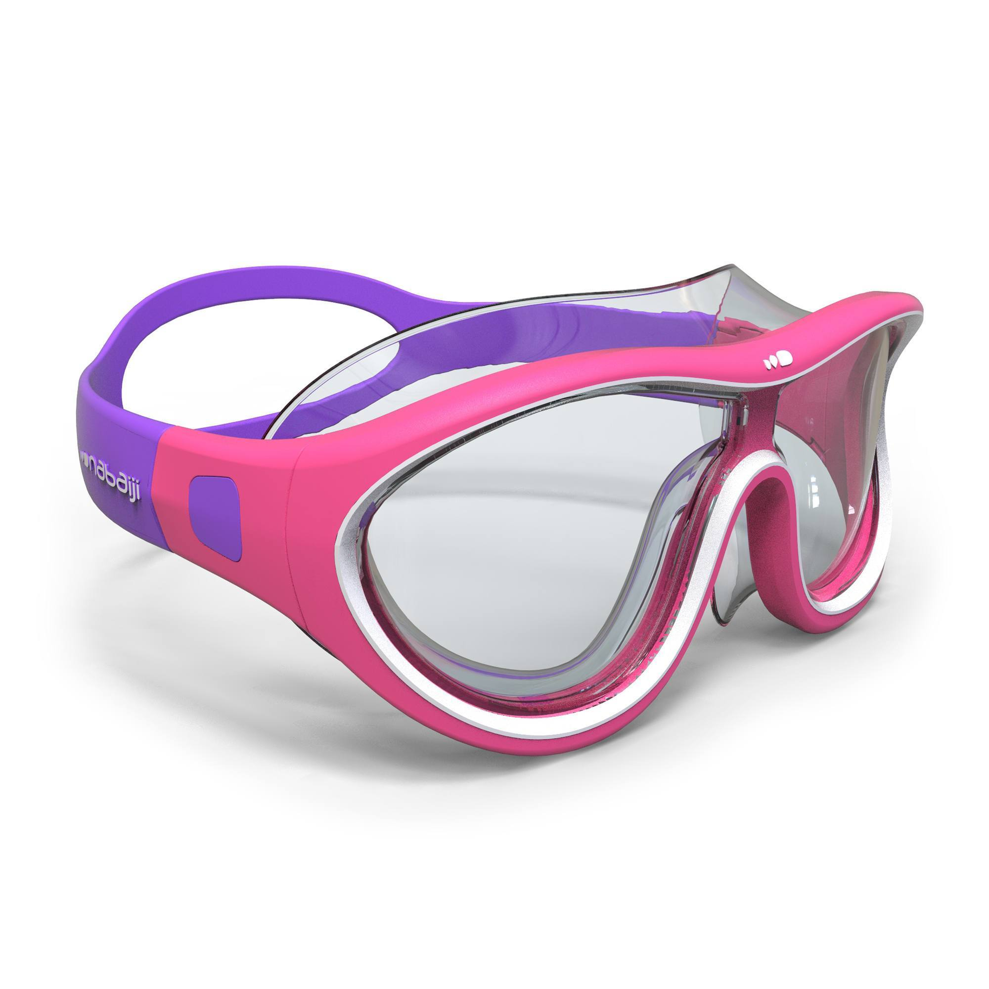 Masque de natation 100 SWIMDOW Taille S Rose Blanc