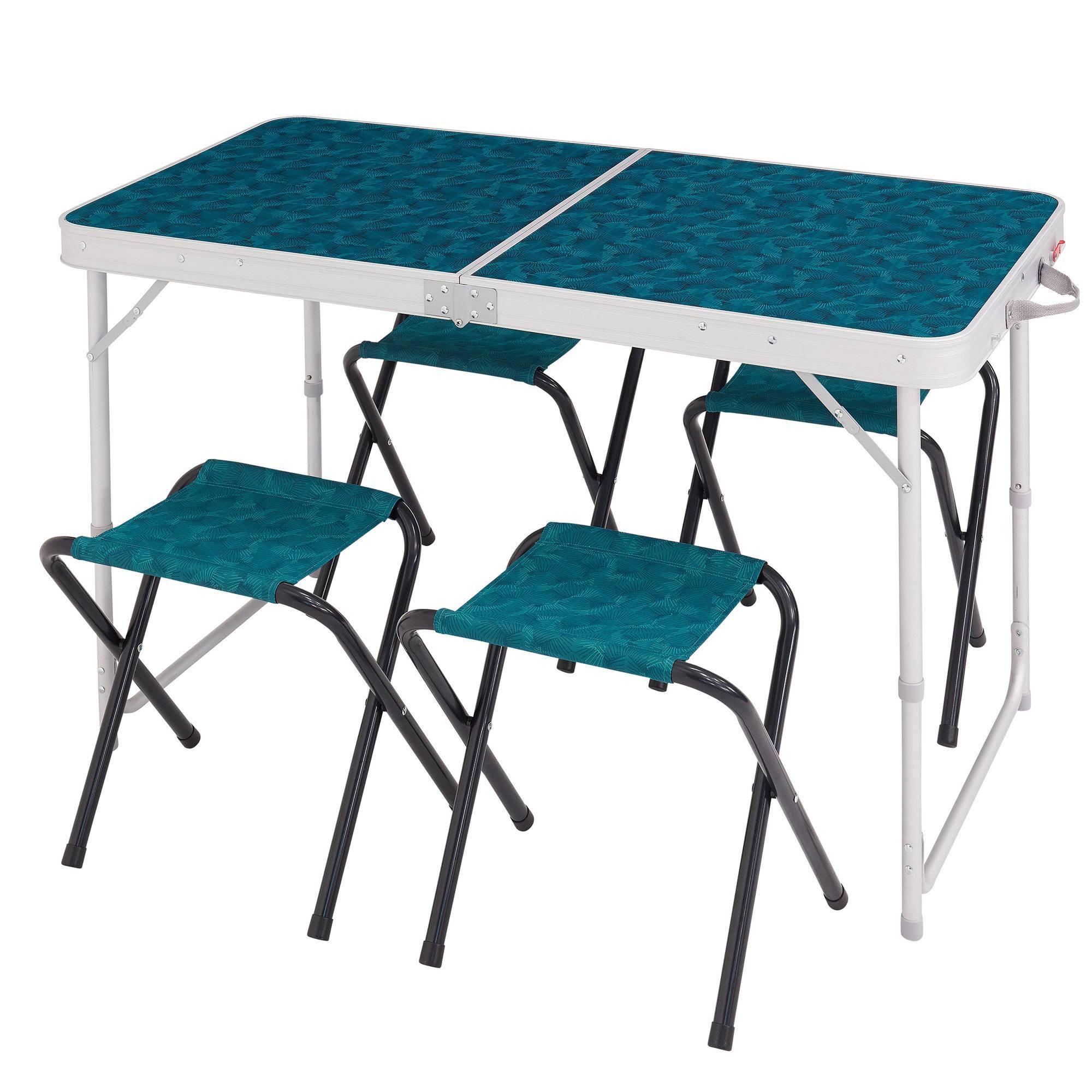 Table de camping / camp du randonneur bleue pour 4 personnes avec 4 sièges