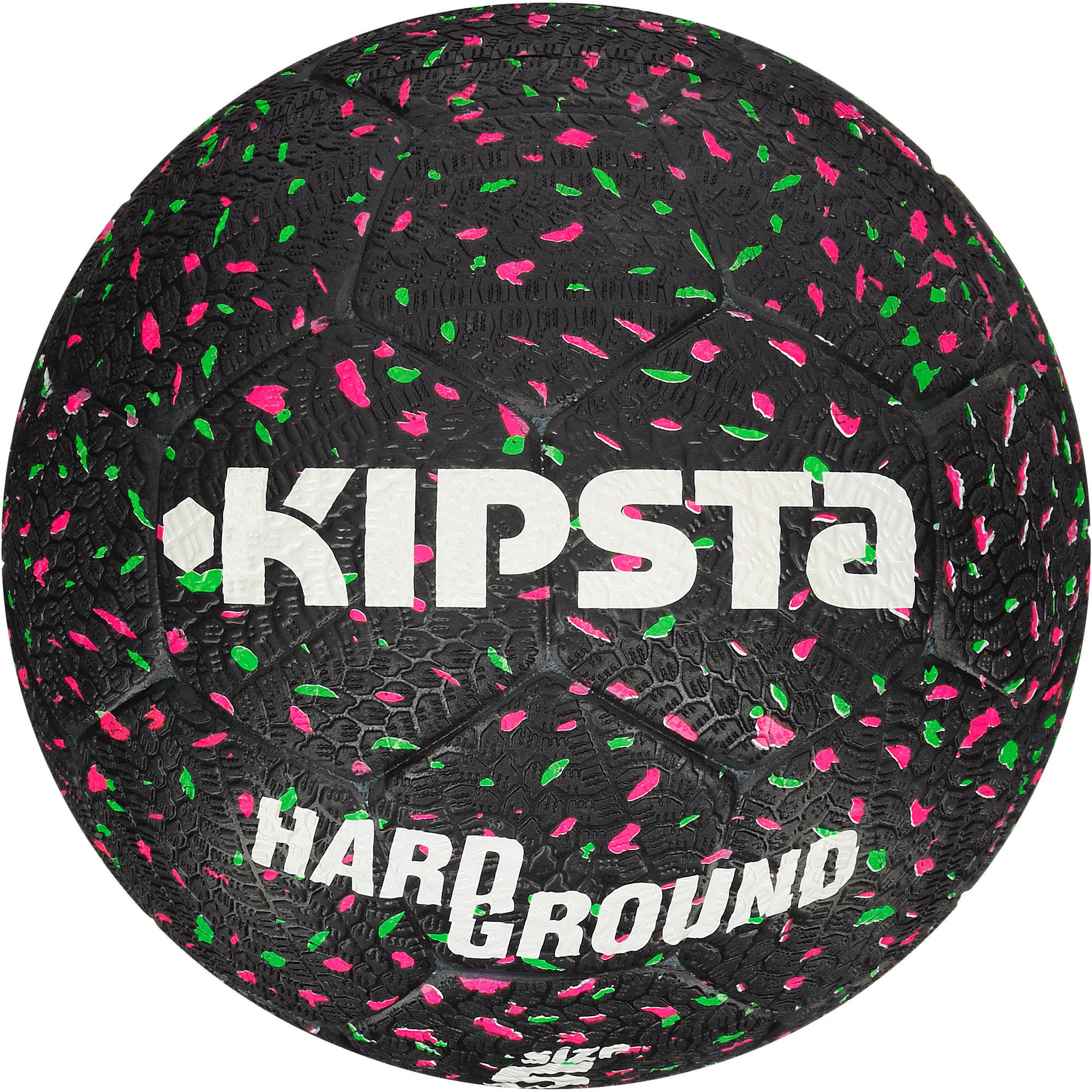 Ballon football Hardground taille 5 noir vert rose