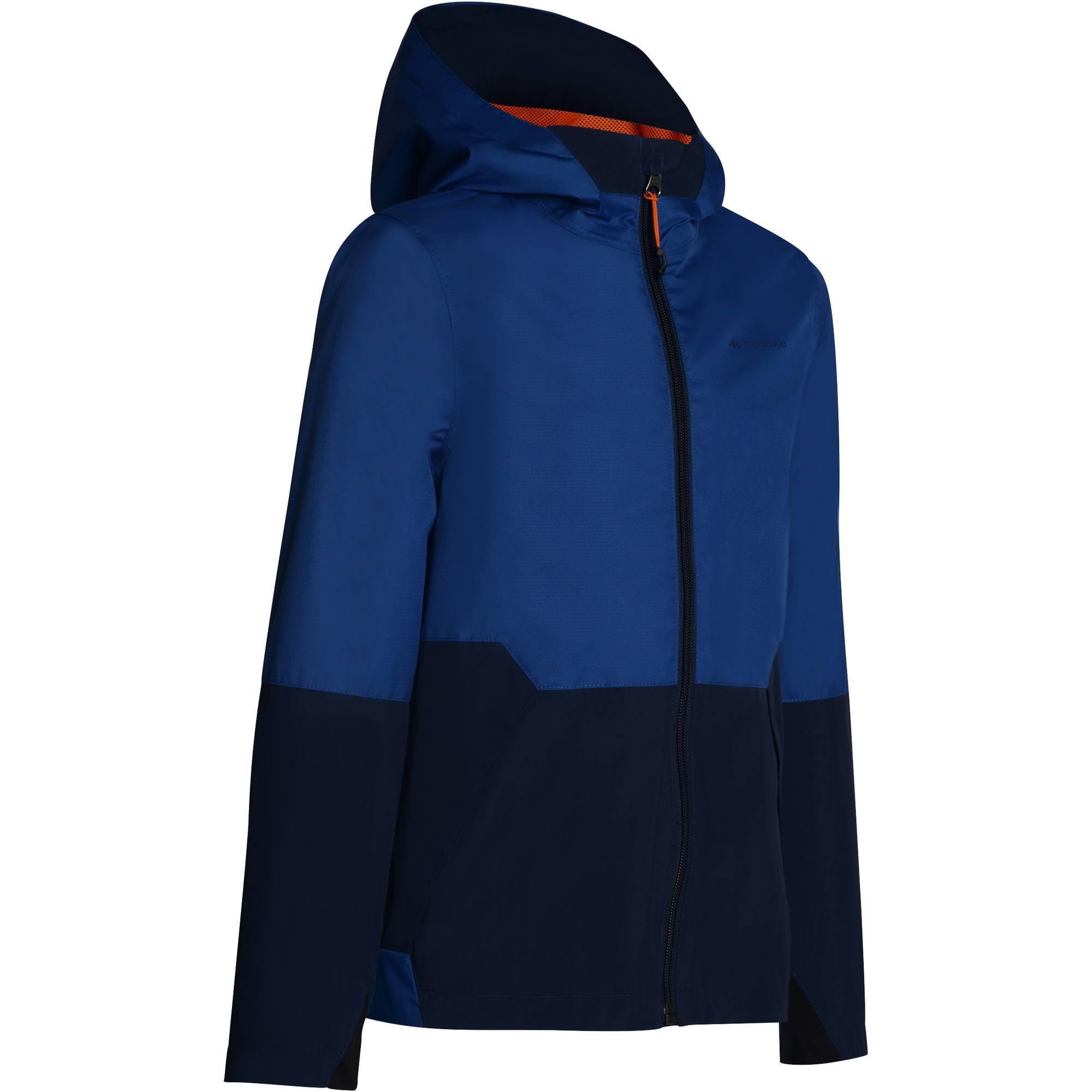 Veste imperméable de randonnée enfant MH 500 bleu