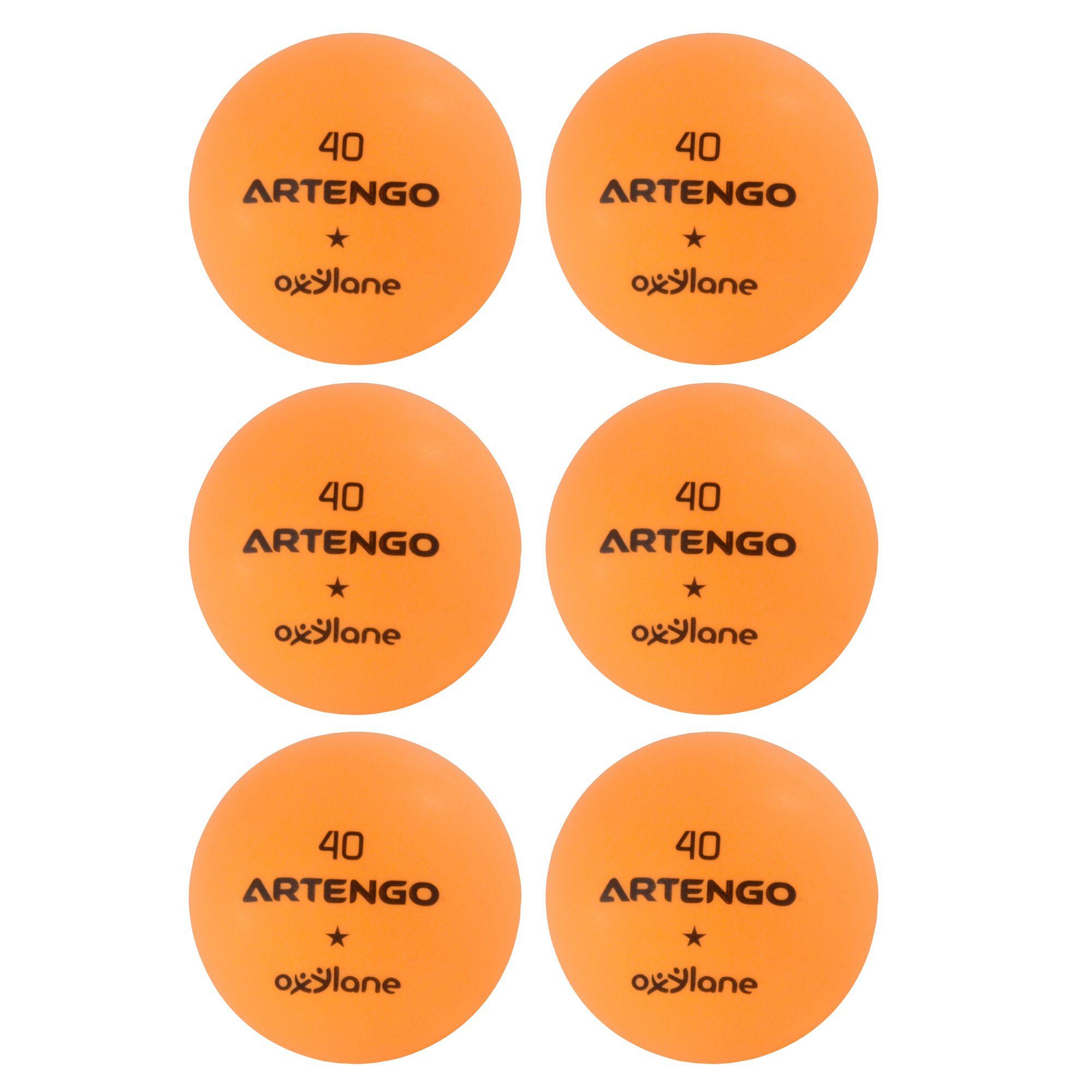 LOT DE 6 BALLES DE TENNIS DE TABLE FB 800 ORANGES ARTENGO