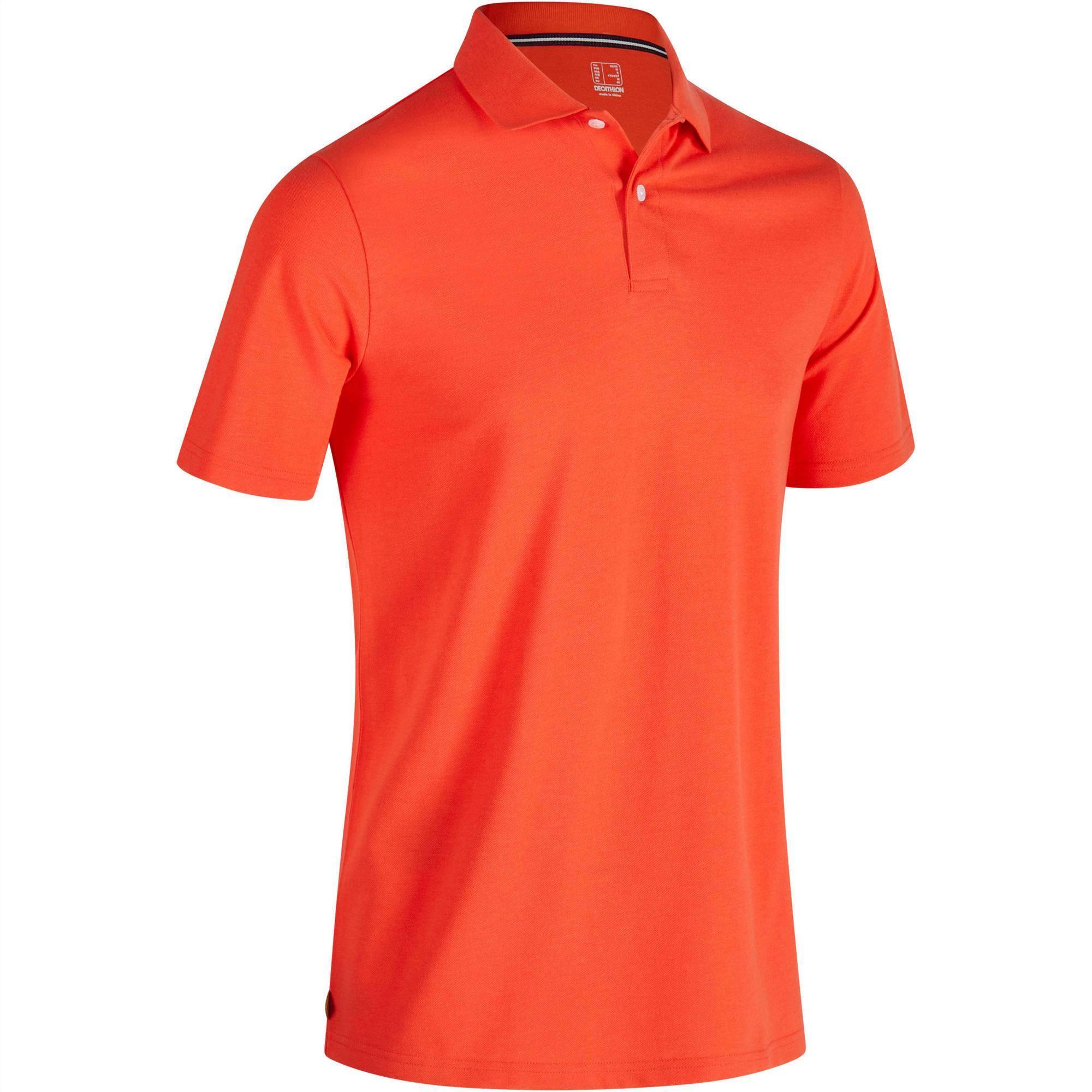 Polo de golf homme manches courtes 500 temps chaud rouge