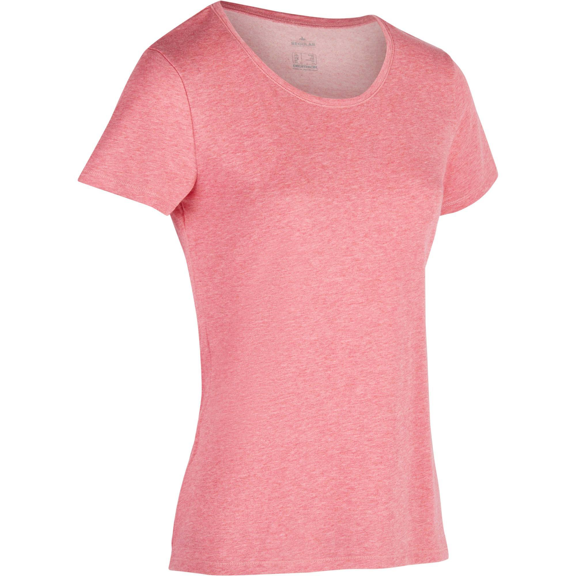 T-Shirt 500 regular Gym Stretching femme rose foncé chiné