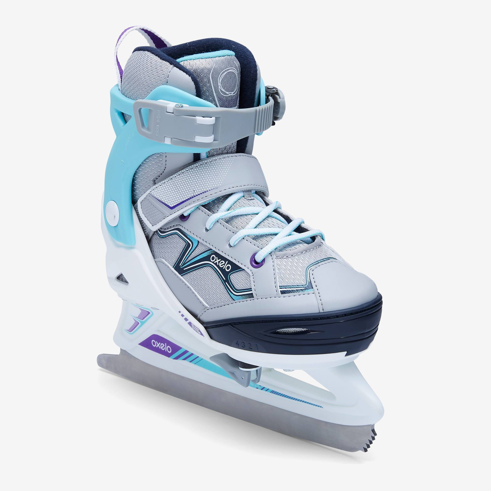 PATIN A GLACE FIT100 GRIS/TURQUOISE