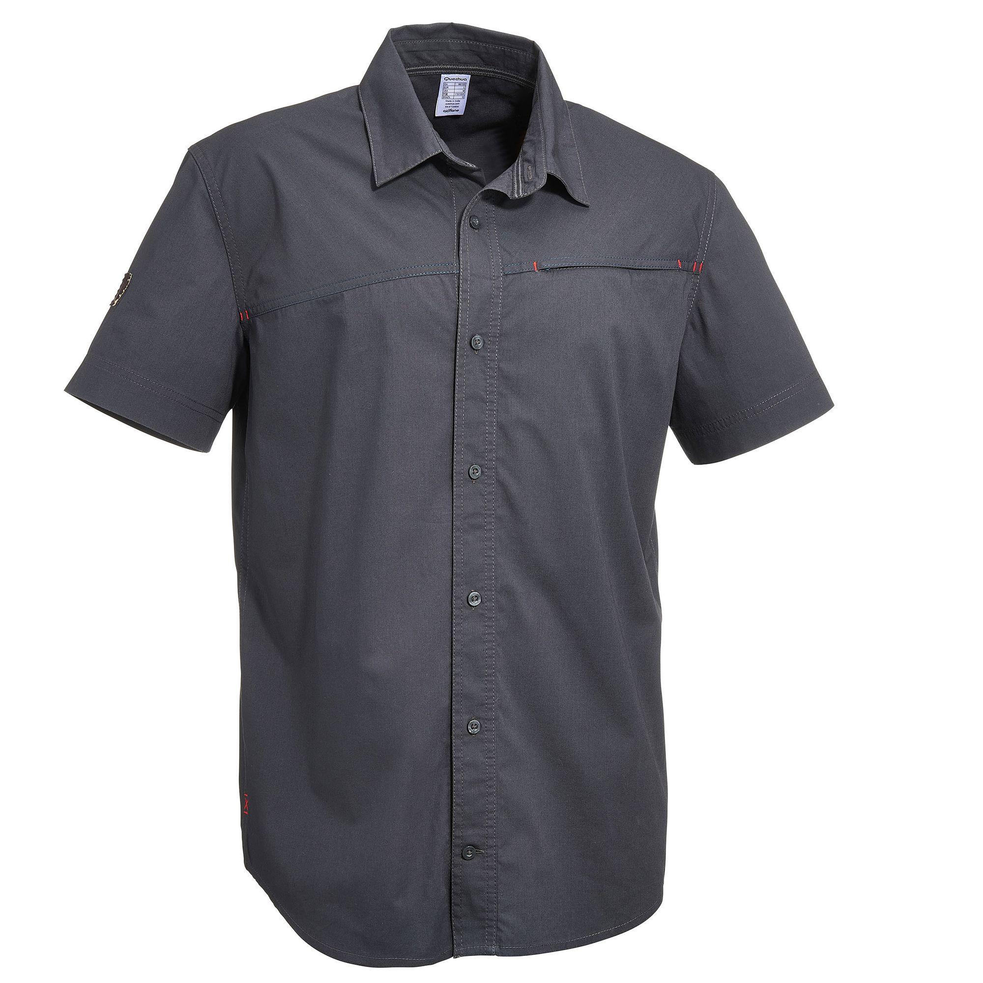 Chemise manches courtes Randonnée Arpenaz 50 homme Gris Foncé