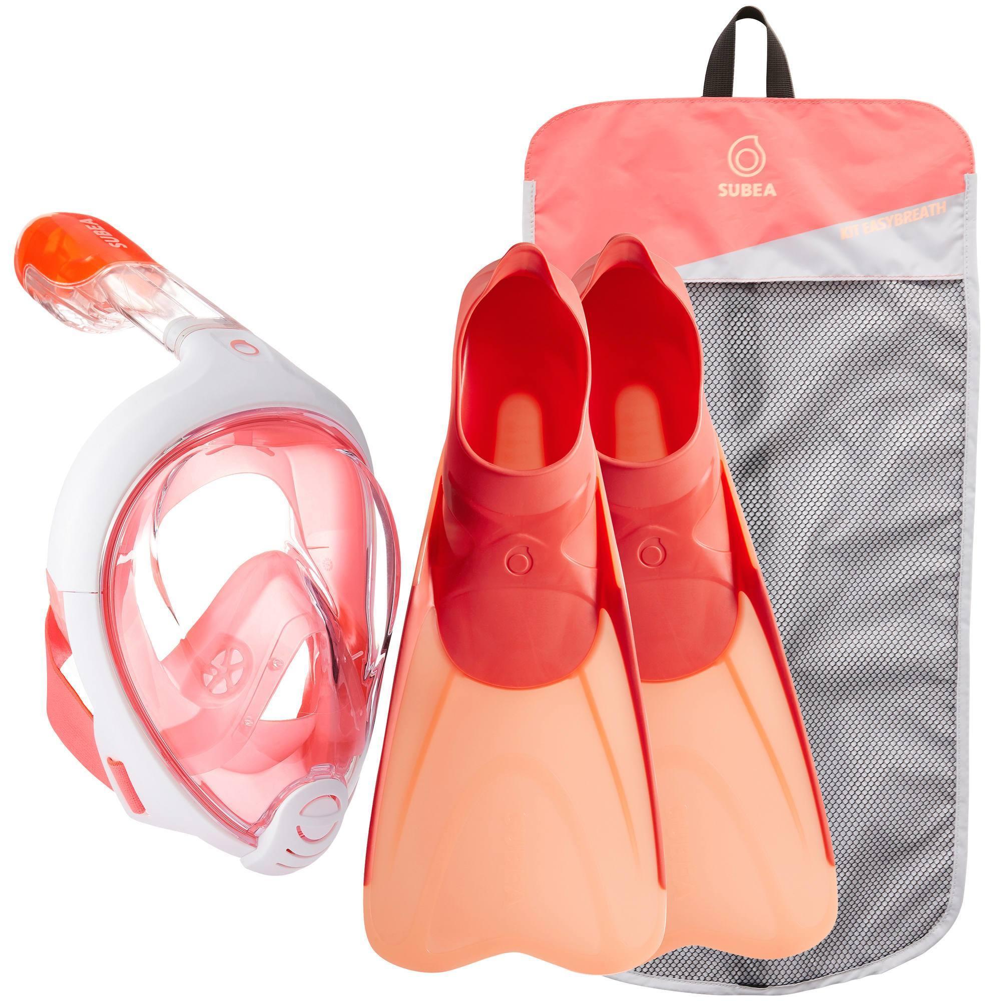 Kit de snorkeling masque Easybreath palmes corail rose
