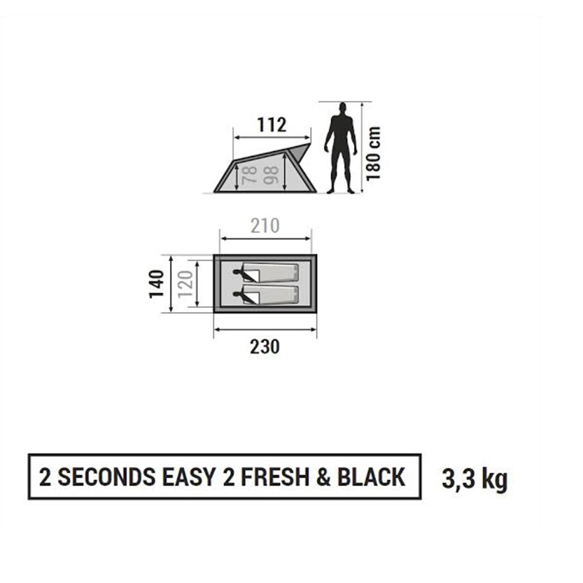 Tente de camping 2 SECONDS 2 FRESH&BLACK   2 personnes blanche