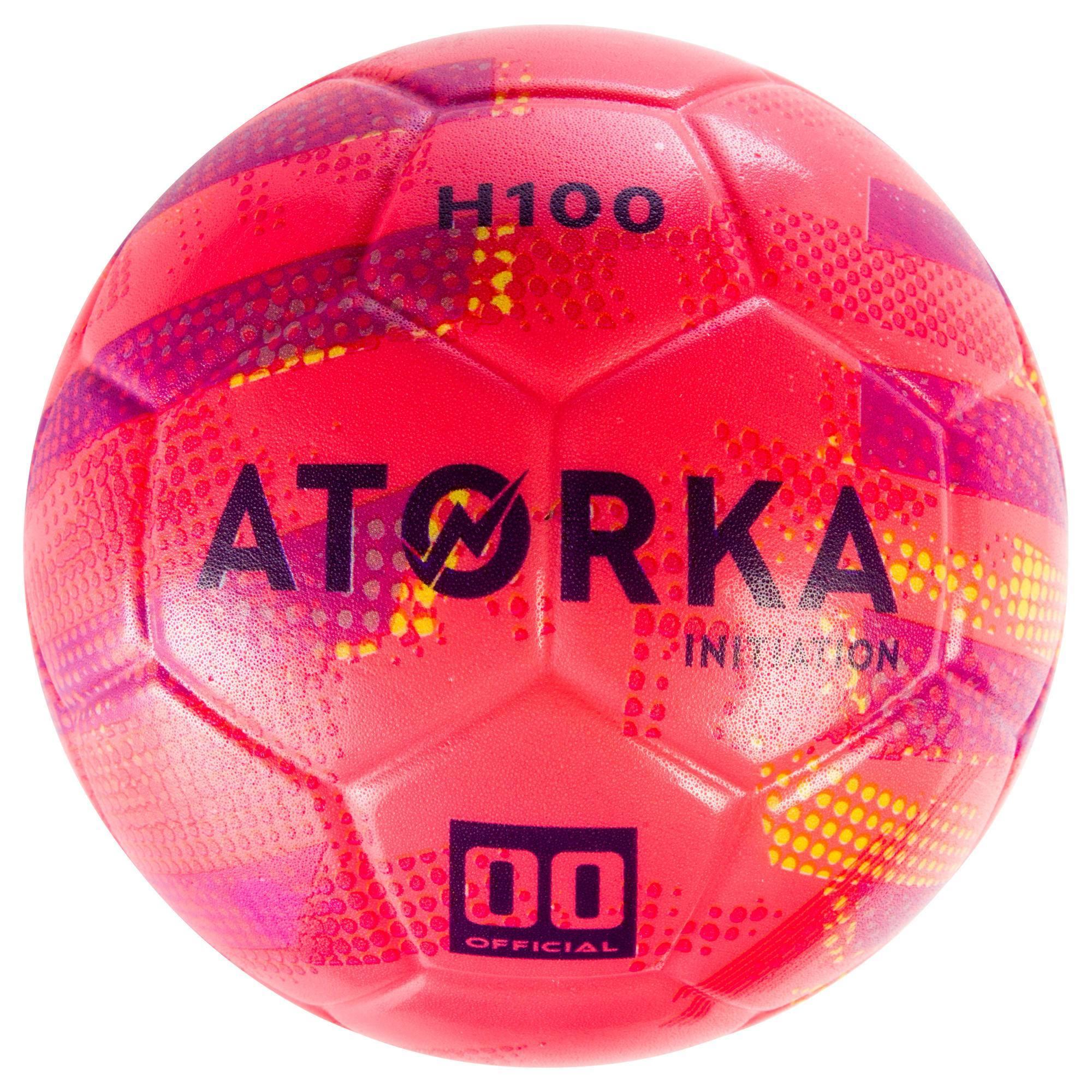 Ballon de handball d'initiation enfant H100 rose / violet