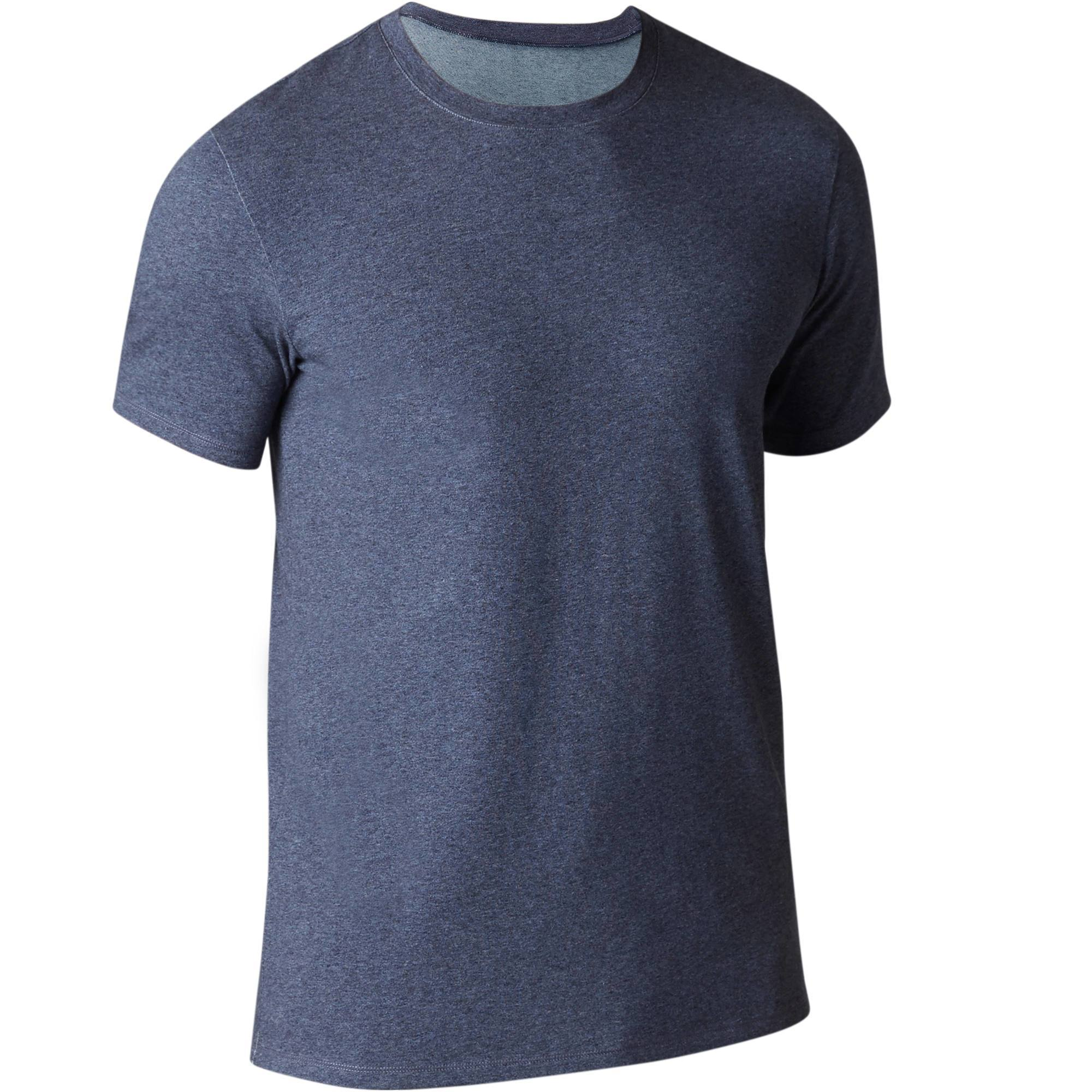 T-shirt 500 regular Gym Stretching homme bleu