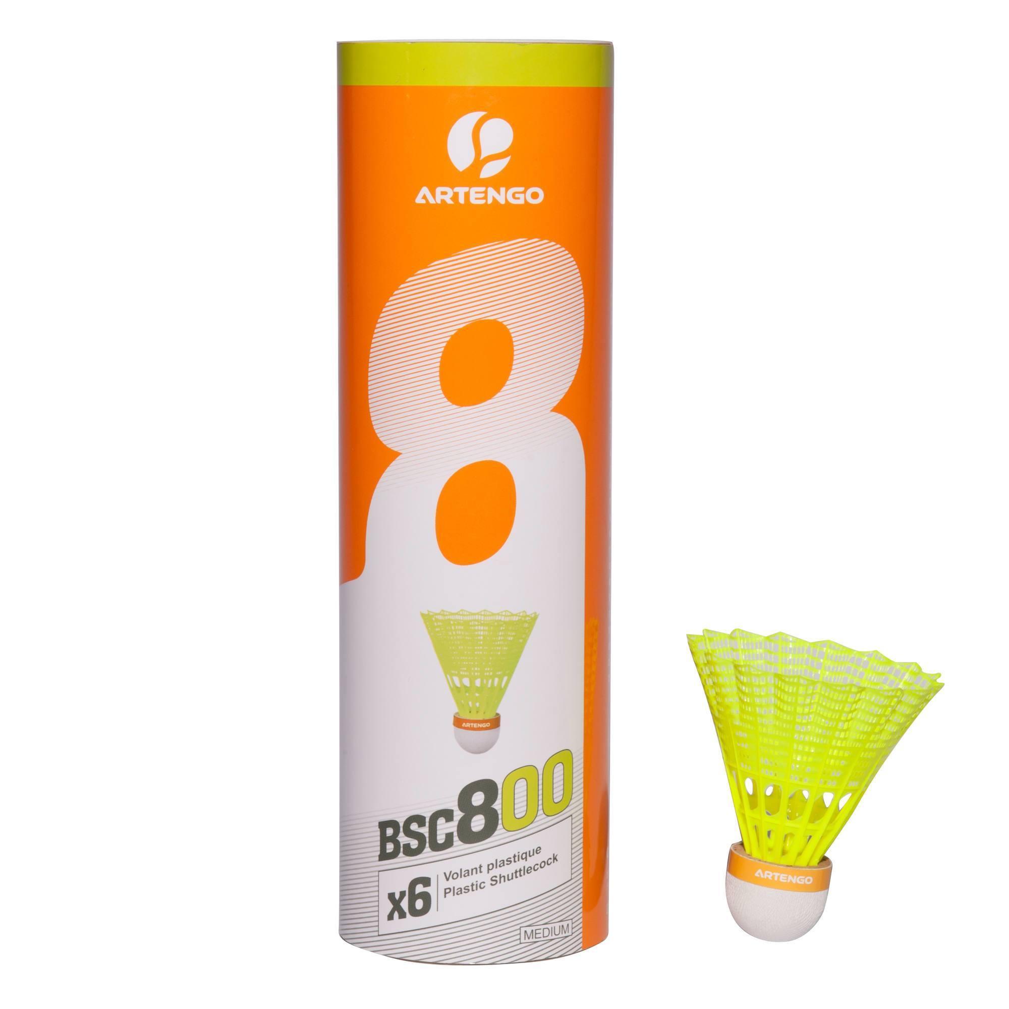 6 VOLANTS BADMINTON ARTENGO BSC800 JAUNE