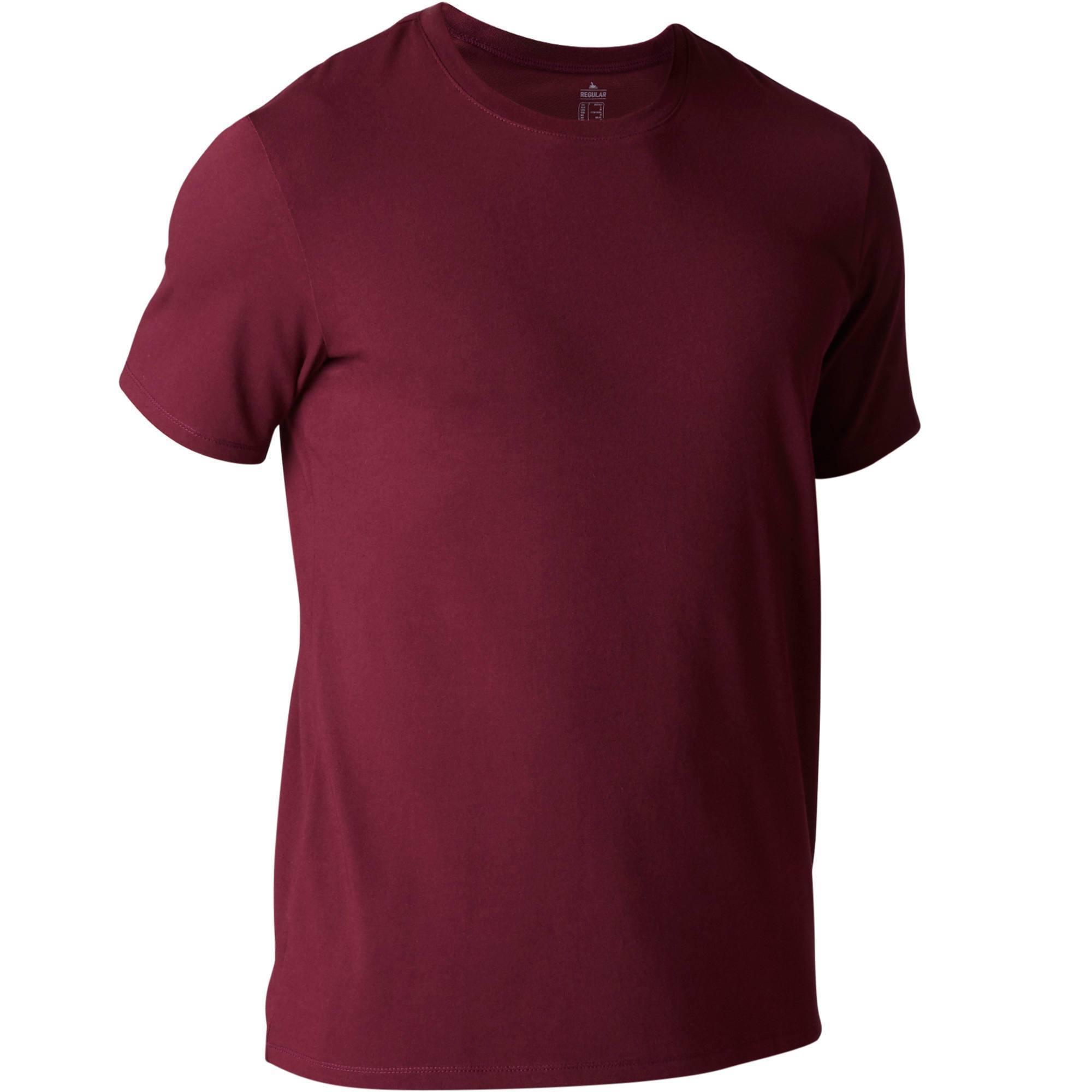 T-shirt 500 regular Pilates Gym douce homme bordeaux
