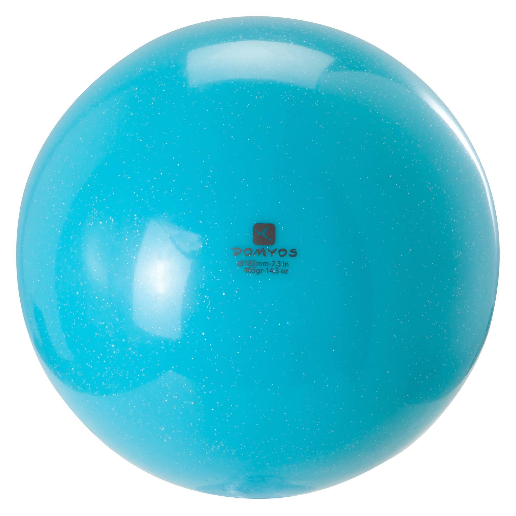 Ballon de Gymnastique Rythmique (GR) 185 mm paillettes turquoise