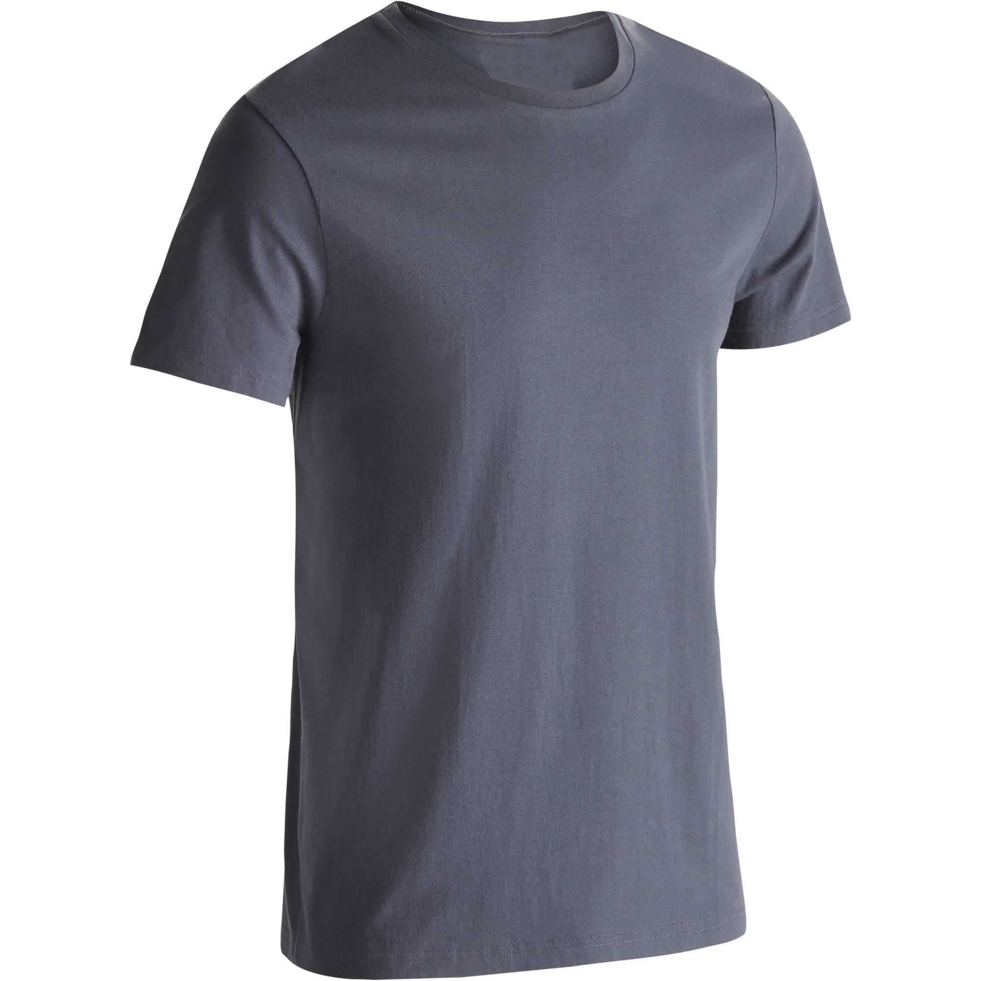 T-Shirt Sportee 100 regular Gym Stretching 100% coton homme gris
