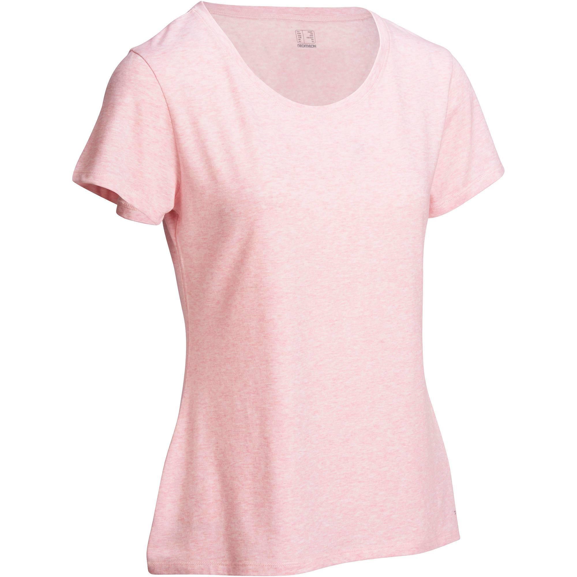 T-Shirt 500 manches courtes régular Gym   Pilates femme rose chiné ... 3cb87b71ab7