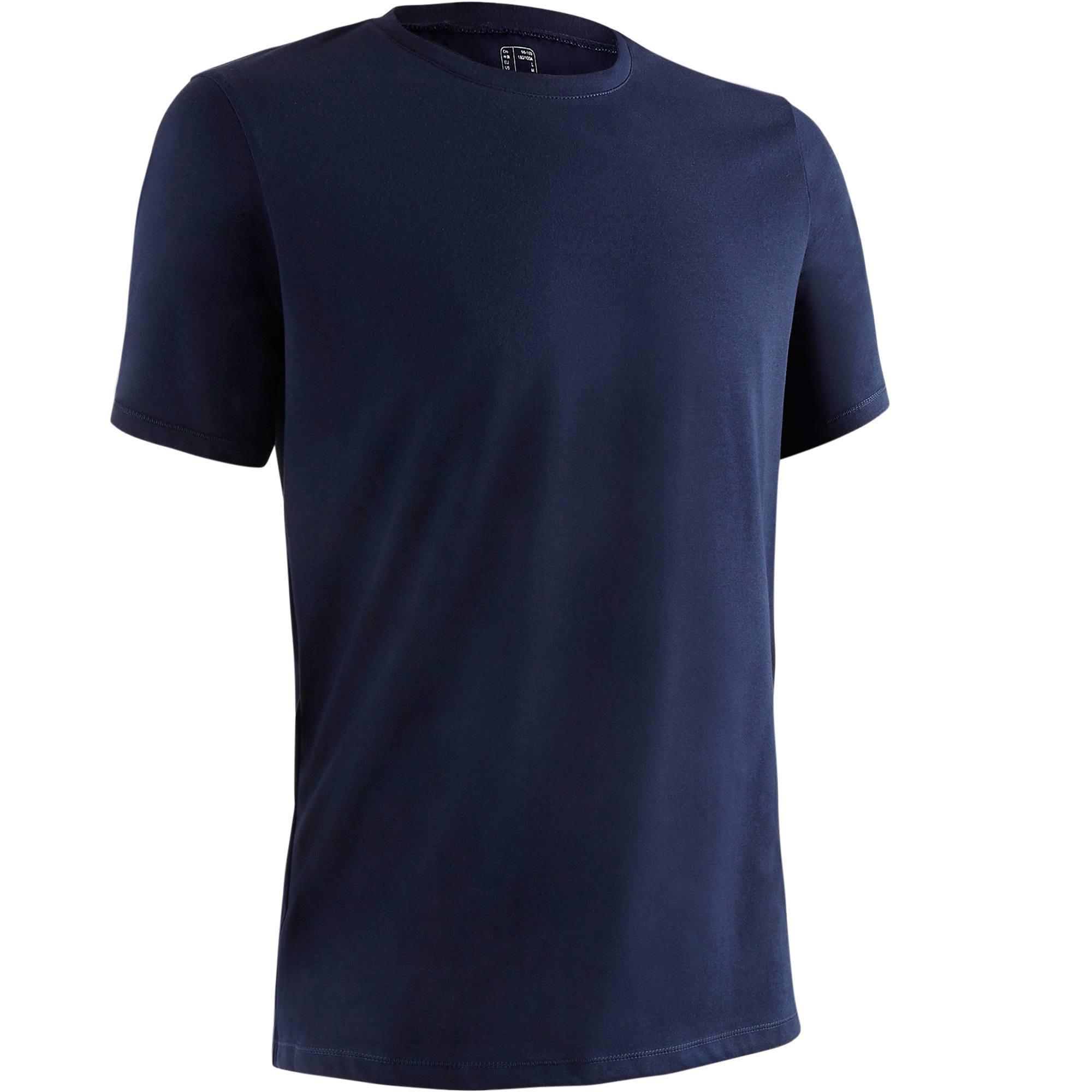T-shirt 500 regular Pilates Gym douce homme bleu marine