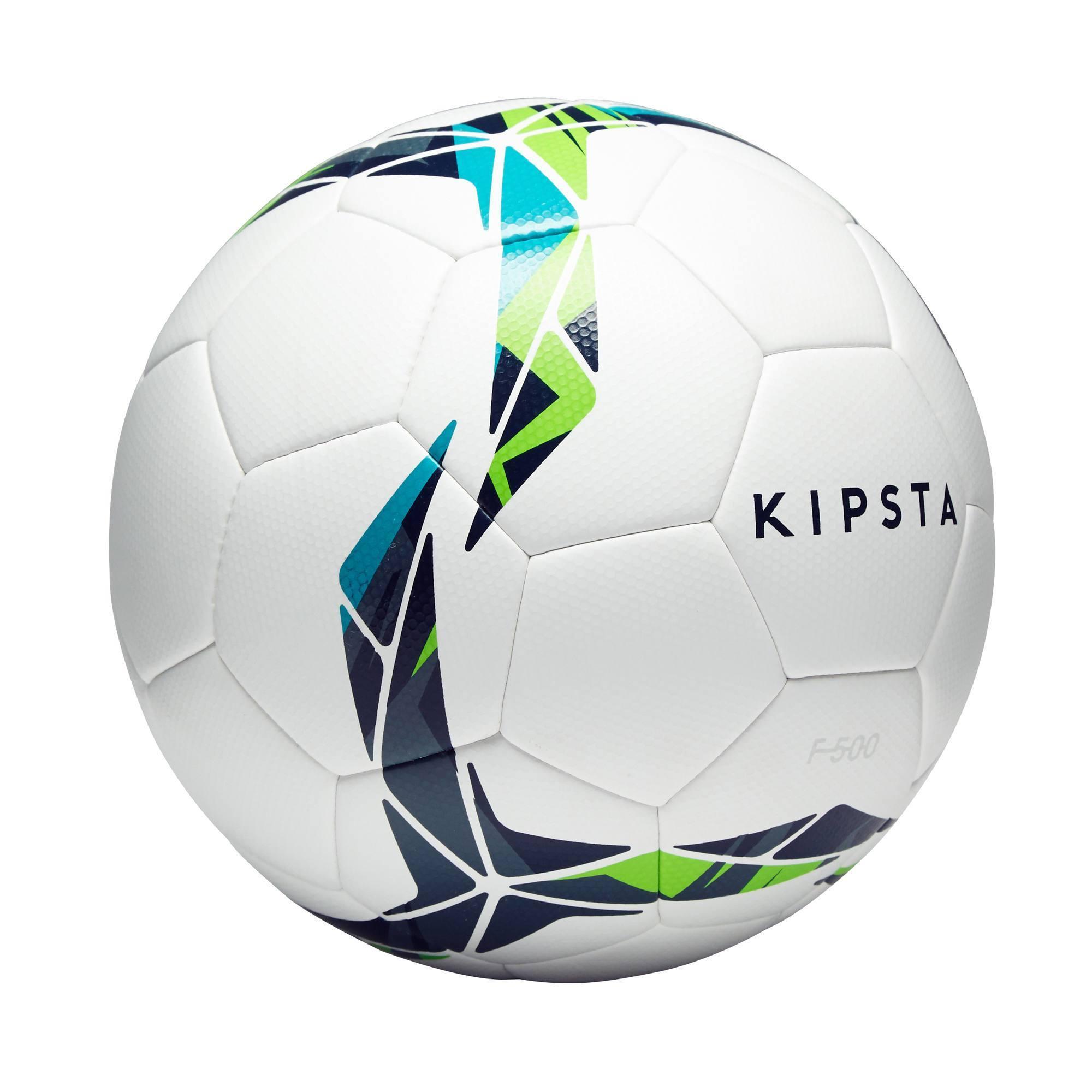 Ballon de football Hybride F500 taille 4 blanc bleu vert