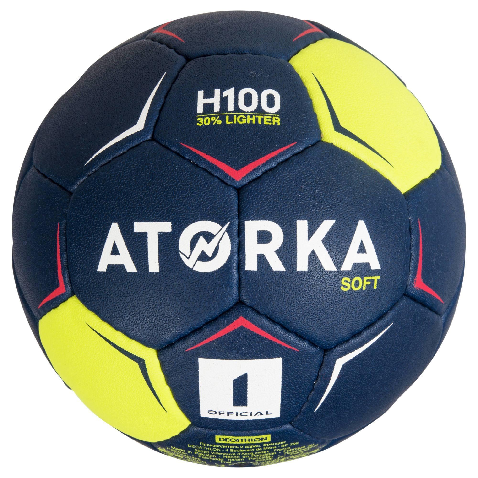Ballon de handball H100 soft T1 bleu et jaune