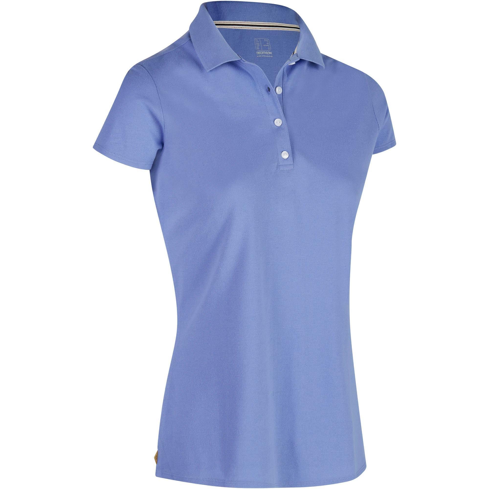 Polo de golf femme manches courtes 500 temps chaud bleu lavande