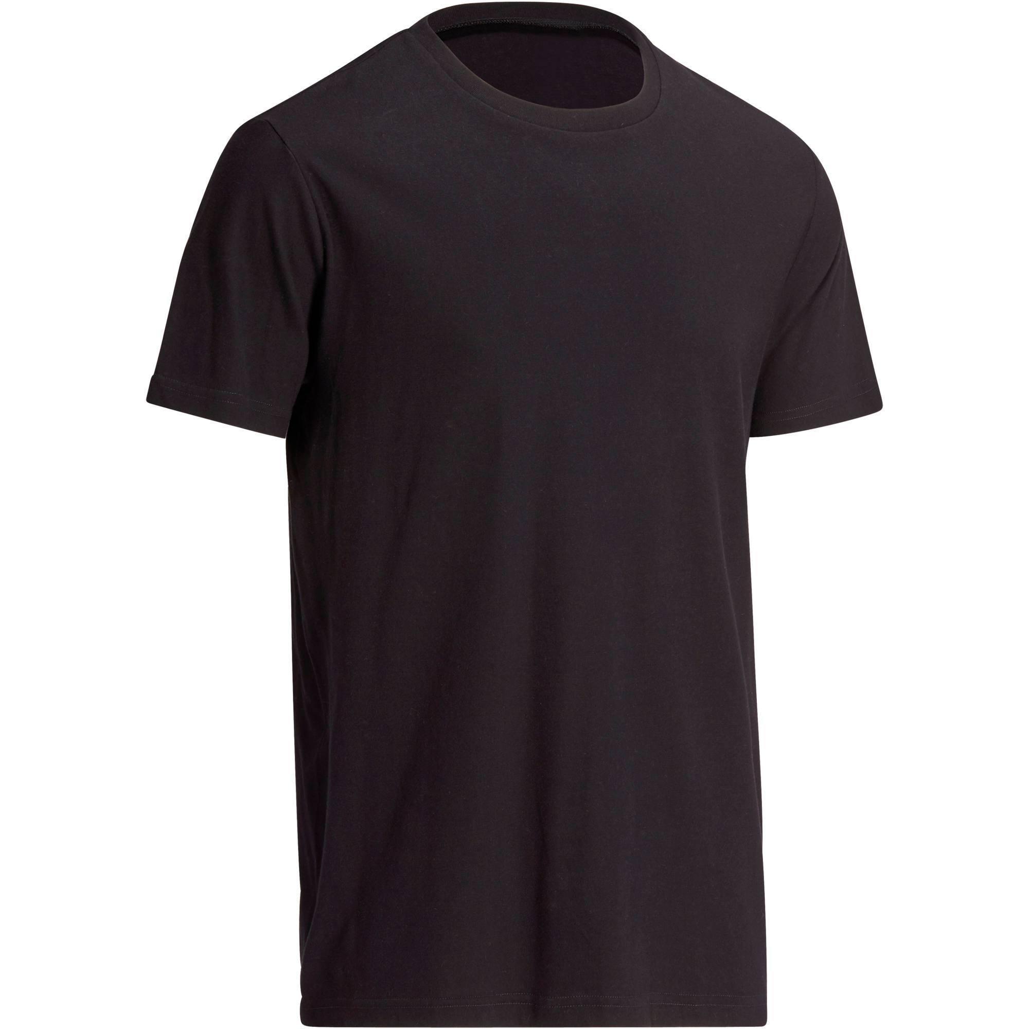 T-Shirt Sportee 100 regular Pilates Gym douce noir homme