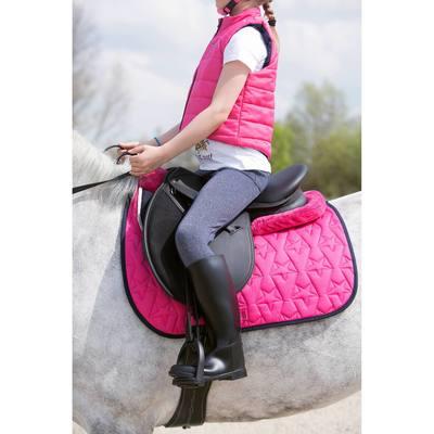 """Selle polyvalente synthétique équipée équitation cheval, poney SYNTHIA noir 16""""5"""