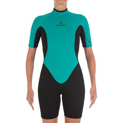 Combinaison Surf Shorty 100 Néoprène Femme Vert