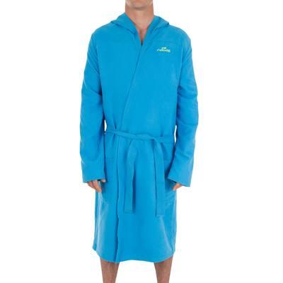 db55e2381b2c4 Peignoir homme bleu clair compact et microfibre avec capuche, poches et  ceinture. < >