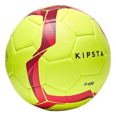 ca18595311dd1 ... Ballon de football hybride F100 light taille 5 jaune fluo et rose ...