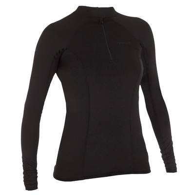 tee shirt anti uv surf top 500 manches longues zip femme Noir